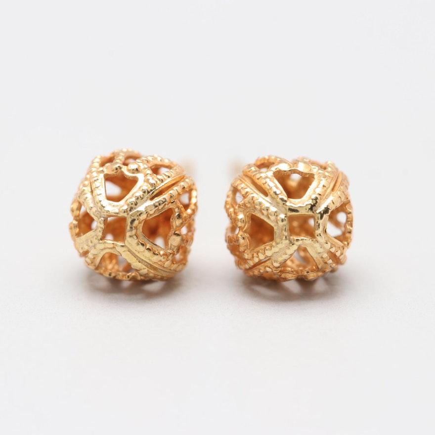 18k Yellow Gold Filigree Ball Stud Earrings