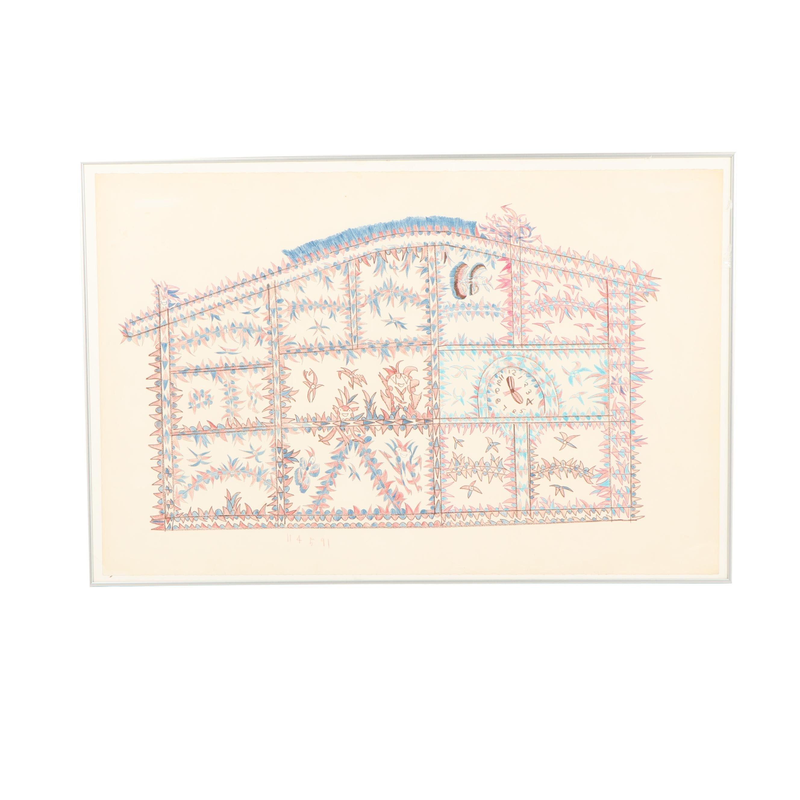 "Frank Jones Naïve Colored Pencil Drawing ""Bad Millionaire House"""