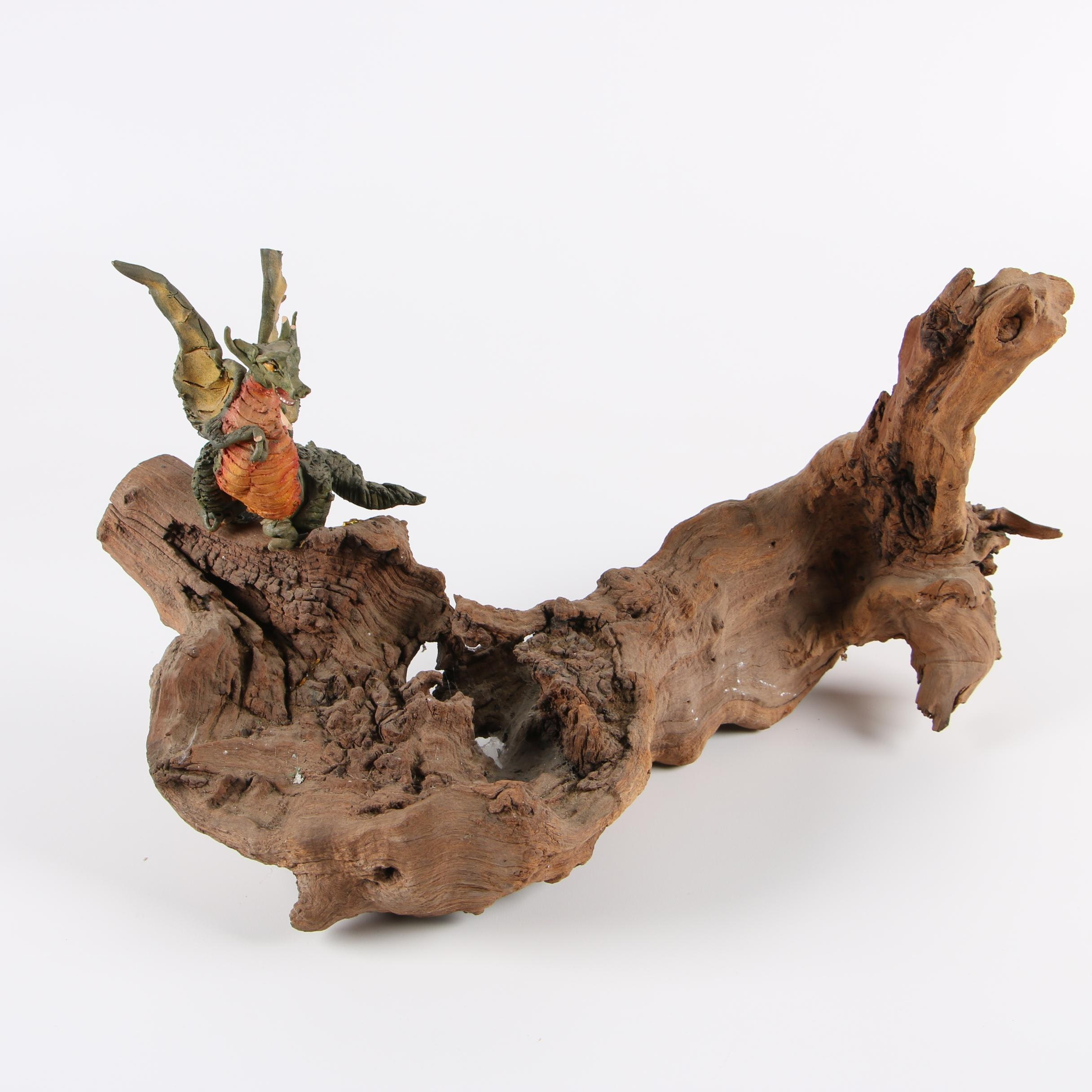 Clay Dragon Figurine on Natural Driftwood Base Sculpture