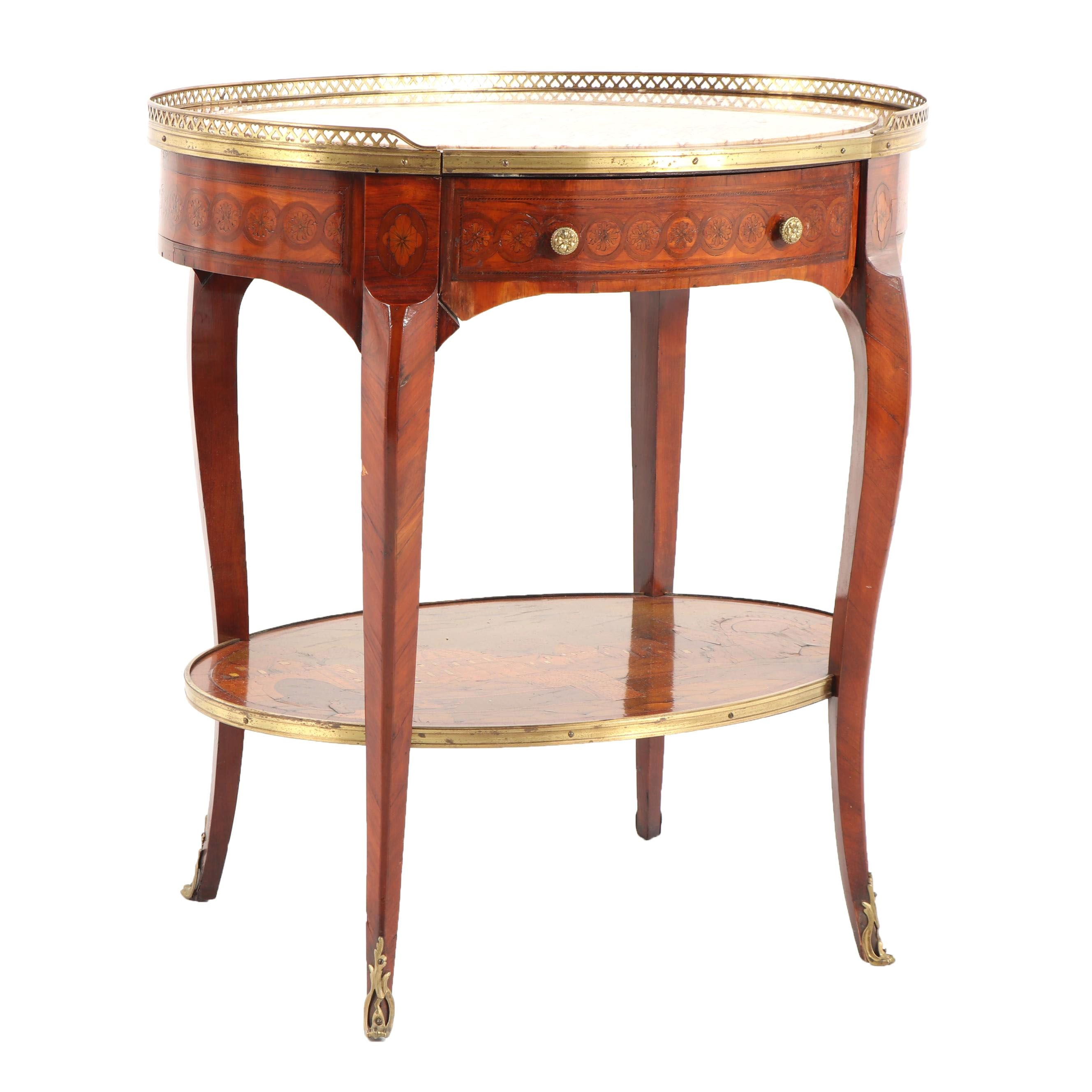Louis XV Style Gilt Metal Mounted Marquetry Inlaid Kingwood Oval Side Table
