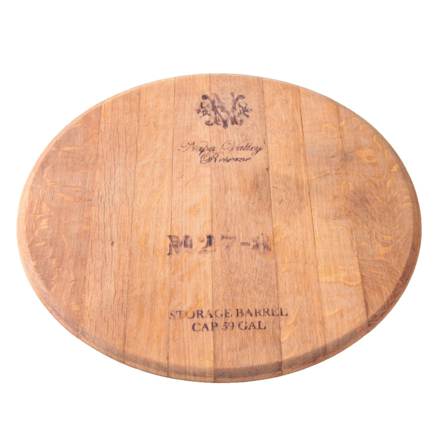 Napa Valley Reserve Oak Wine Barrel Head Lazy Susan Ebth