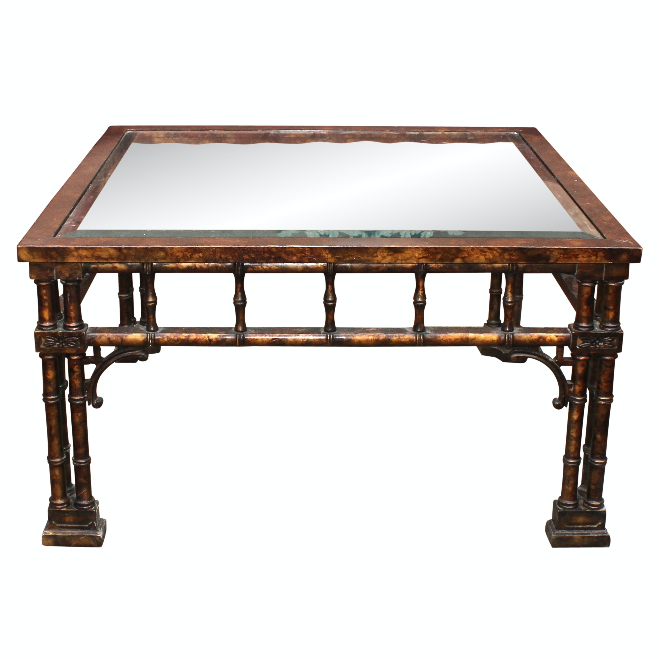Bamboo Style Wooden and Glass Top Coffee Table