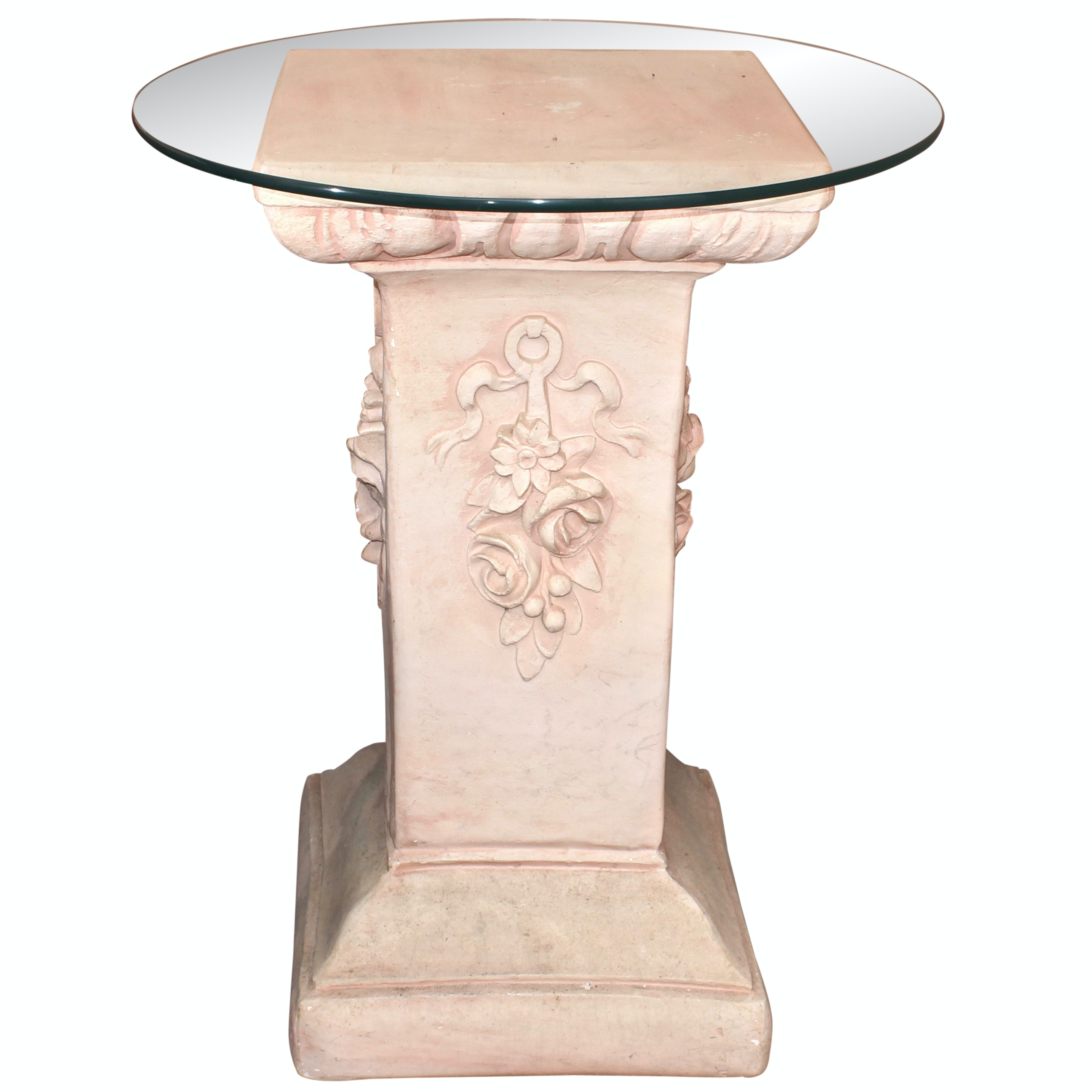 Glass Top Pedestal Side Table
