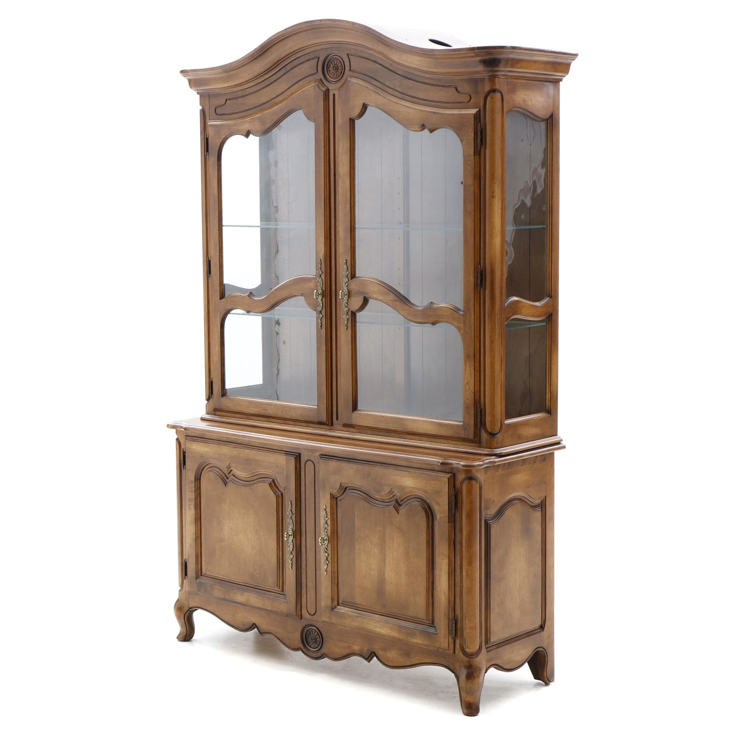 French Provincial Style Maple China Cabinet by Ethan Allen, 20th Century