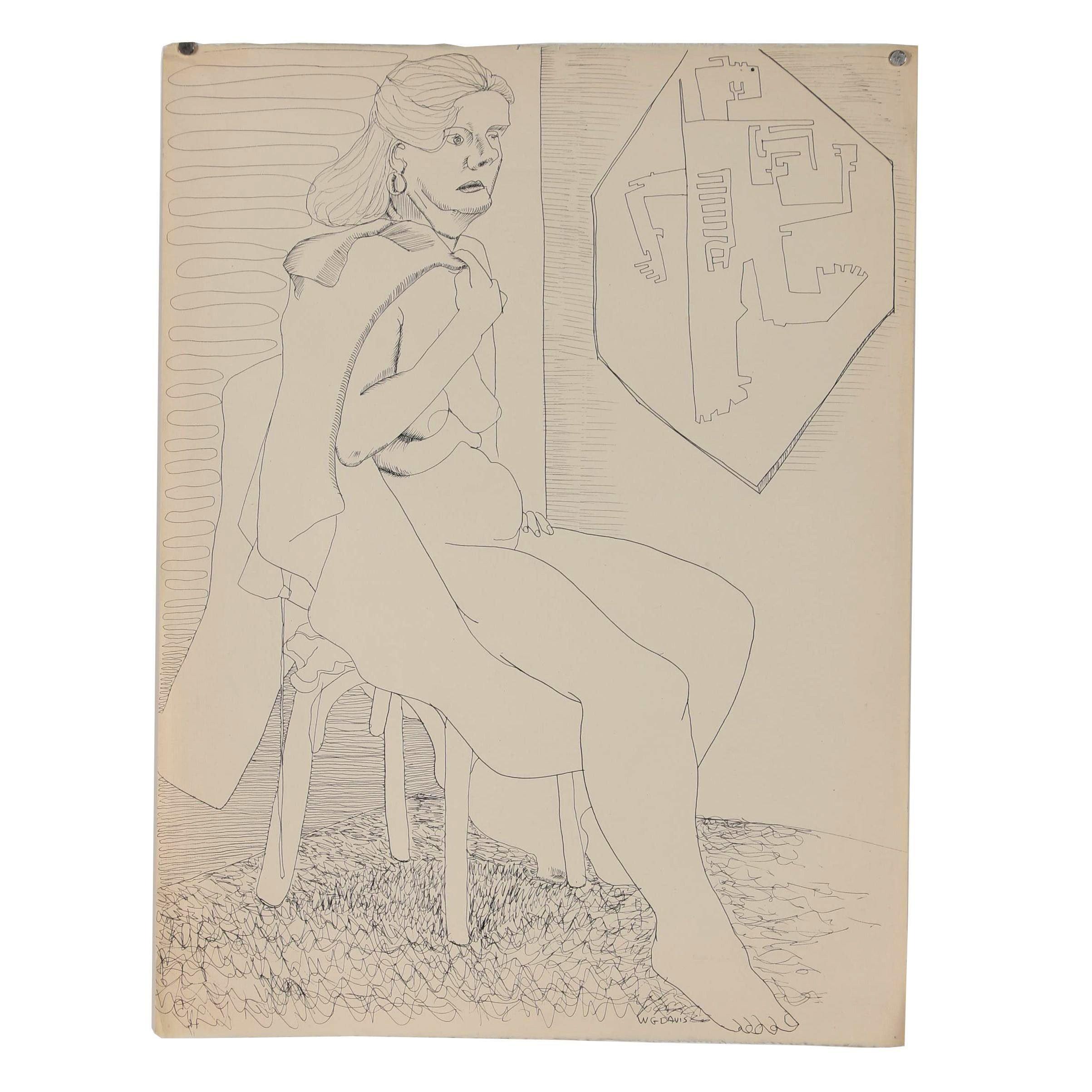 W. Glen Davis Ink Figure Drawing