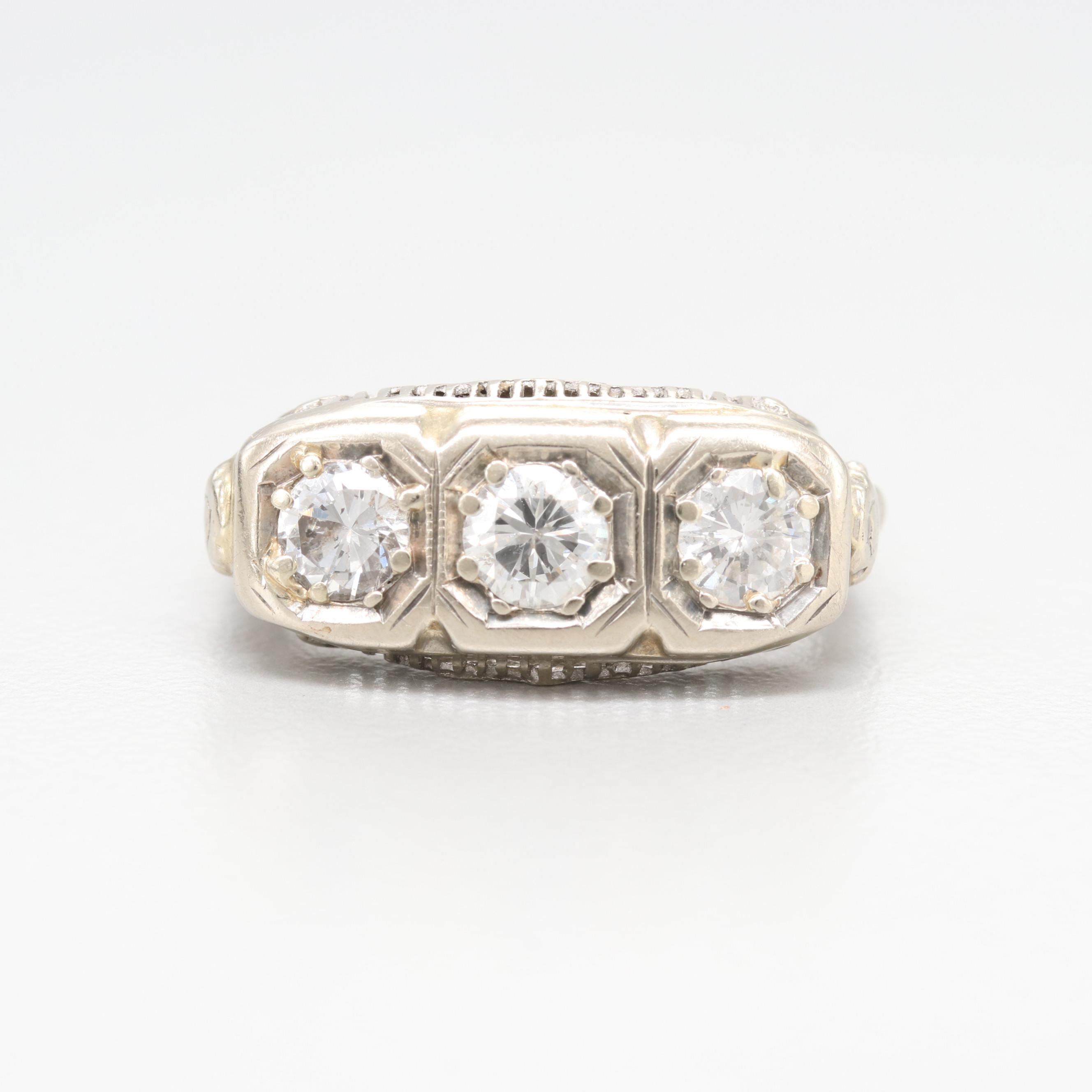 14K White Gold 0.95 CTW Diamond Ring