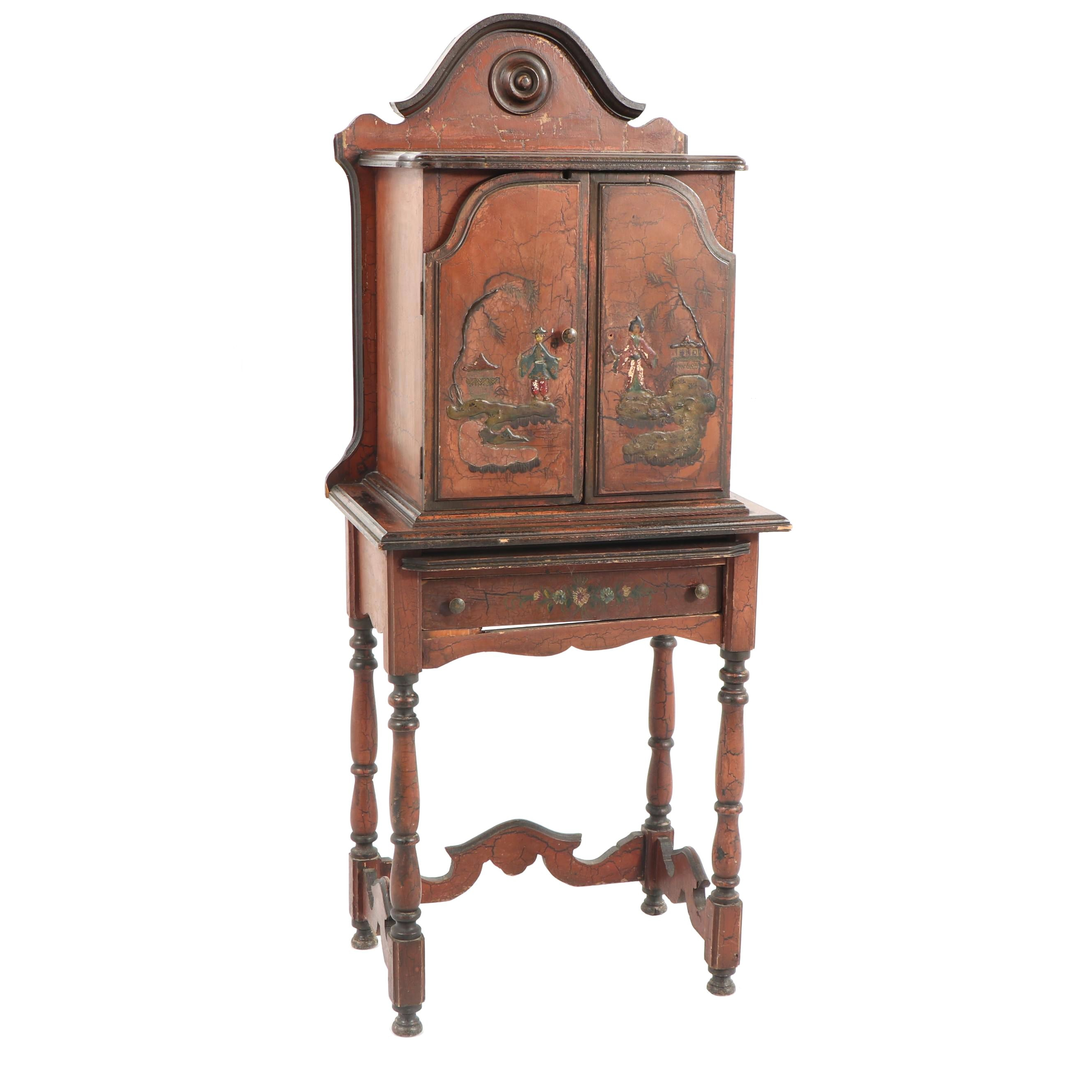 Chinoiserie Wooden Telephone Cabinet, Mid 20th Century ...