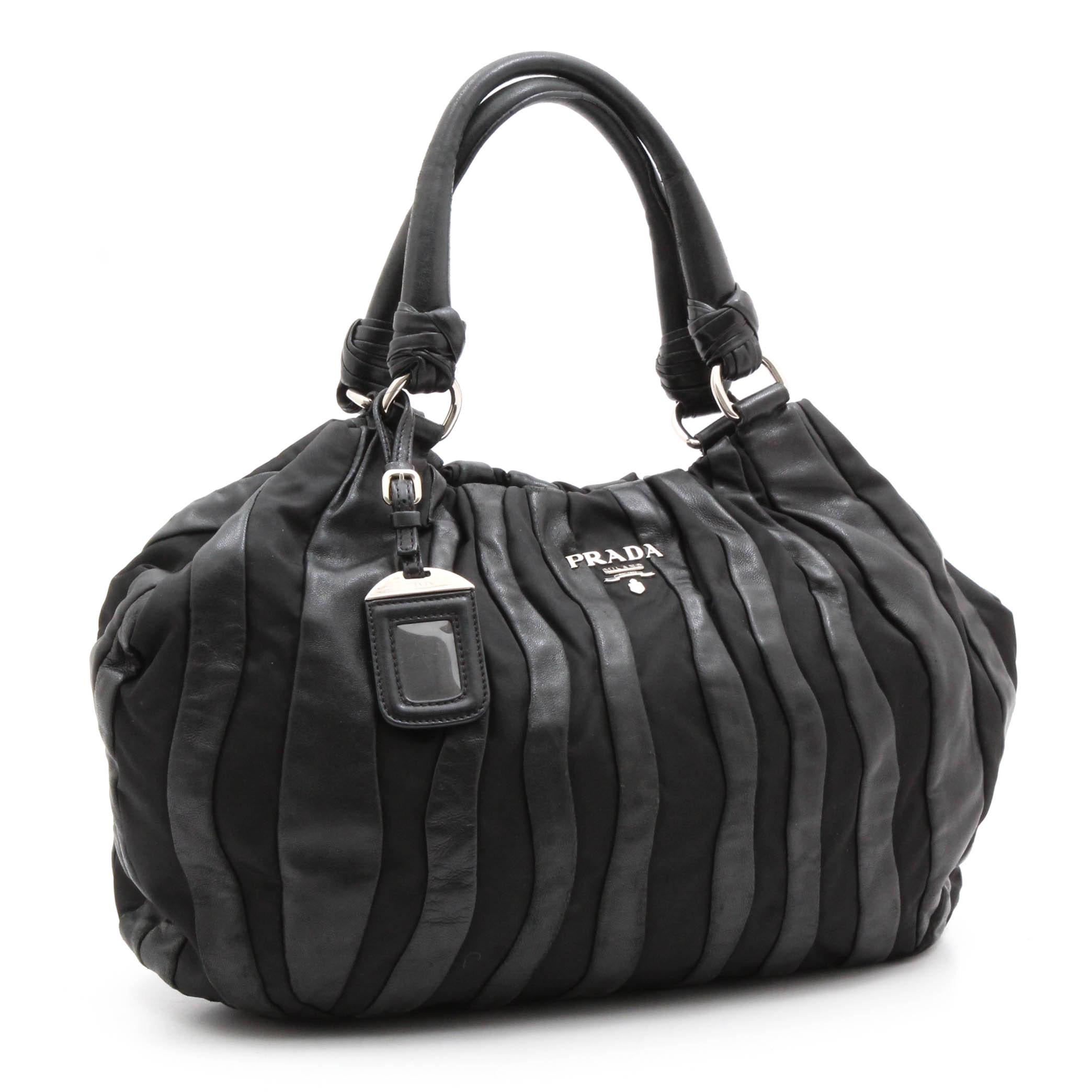 Prada Black Lambskin and Nylon Striped Hobo Bag