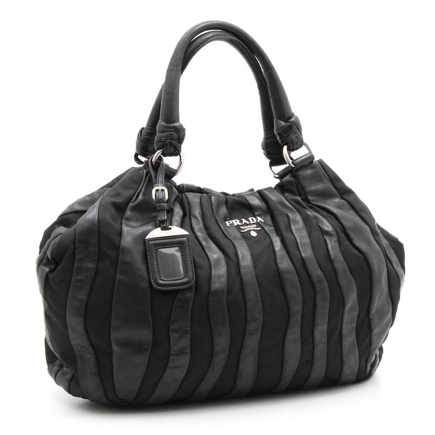 ef4ea70a19de Prada Black Lambskin and Nylon Striped Hobo Bag   EBTH