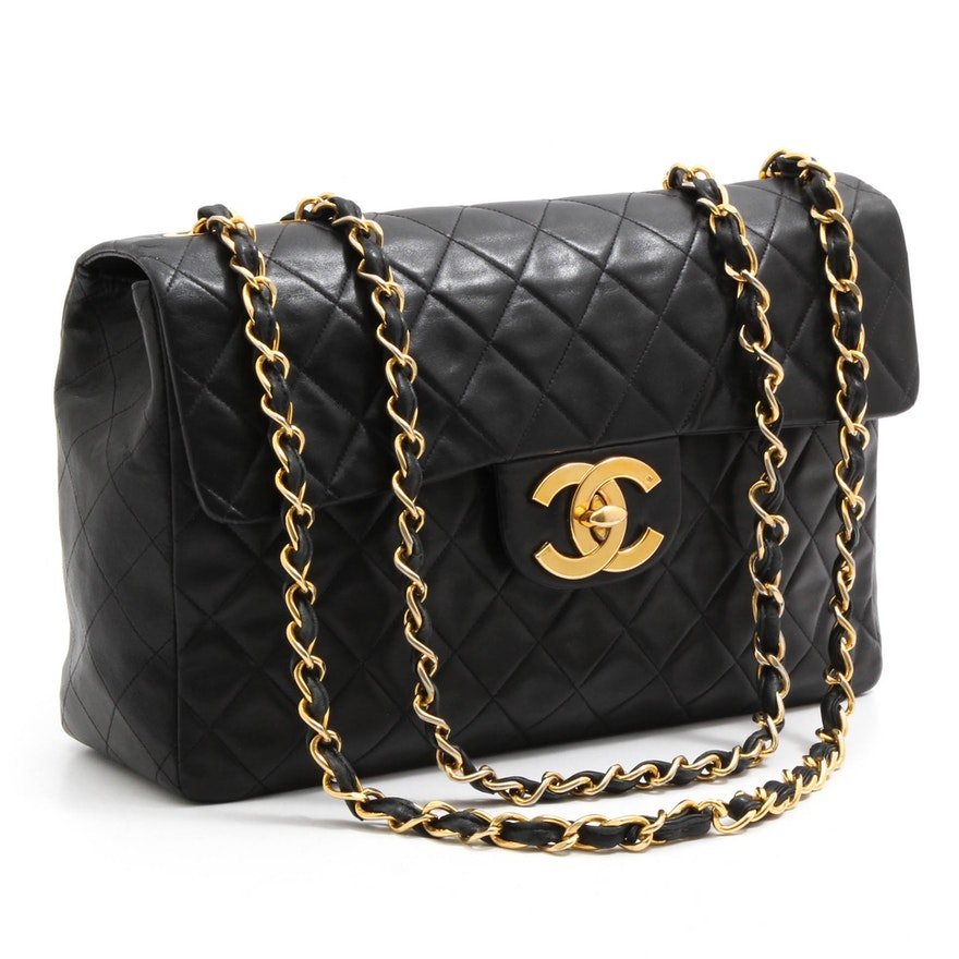 Chanel Matelassé Quilted Black Lambskin Leather Jumbo Flap Shoulder Bag    EBTH 4b1274615f