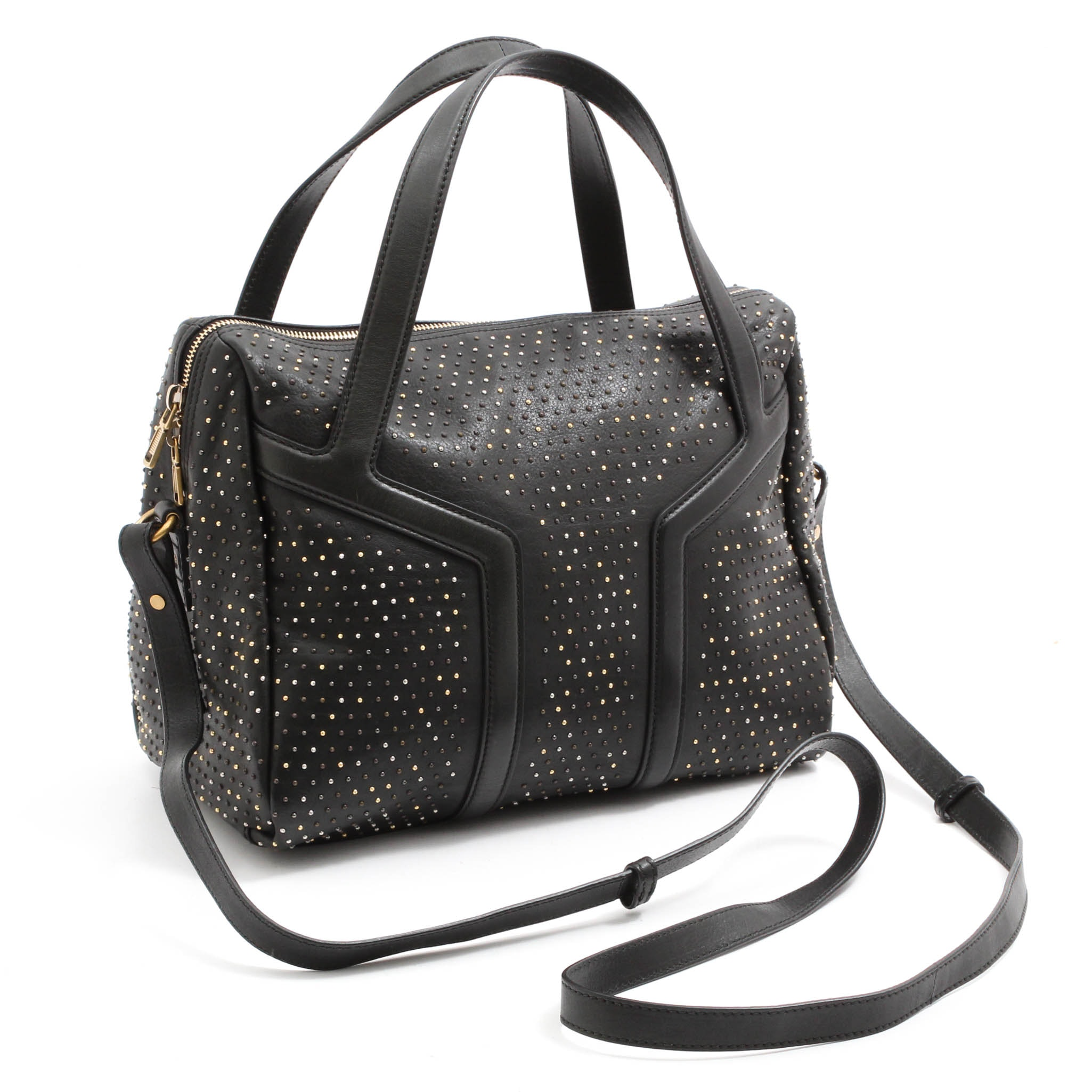 Yves Saint Laurent Studded Black Leather Two-Way Satchel
