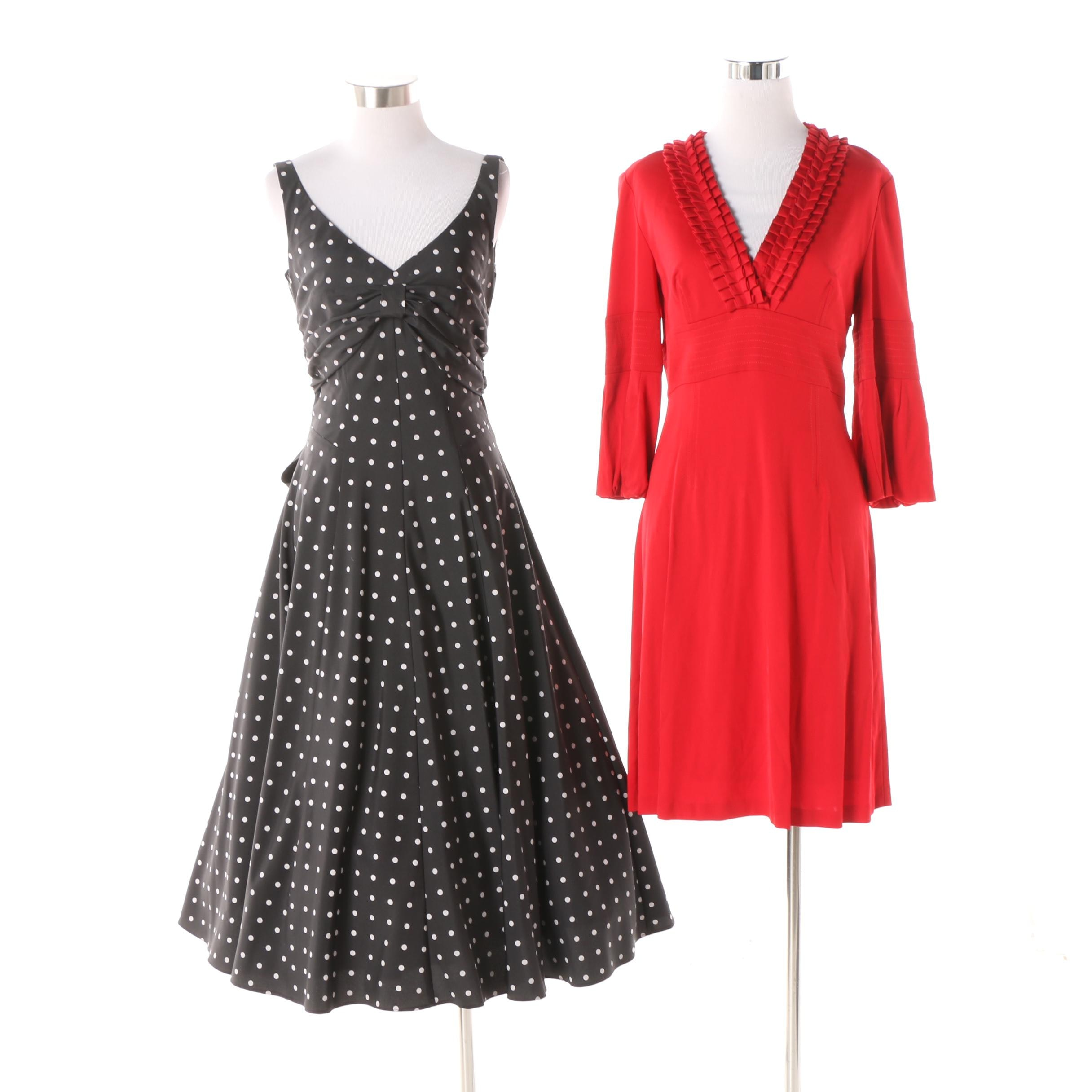Karen Millen of England Red Sheath Dress and Night Way Polka Dot Dress