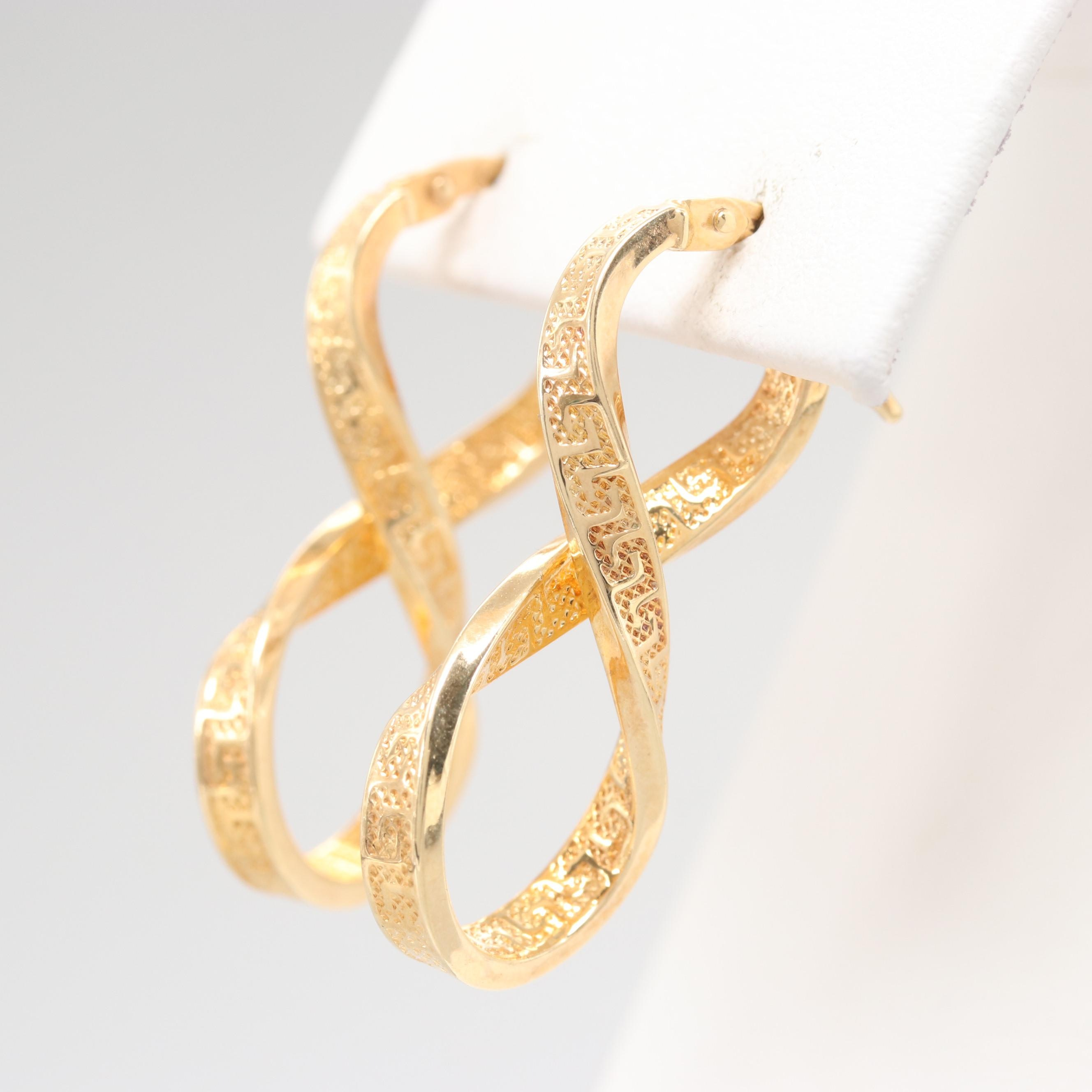 14K Yellow Gold Infinity Drop Earrings featuring Meander Pattern