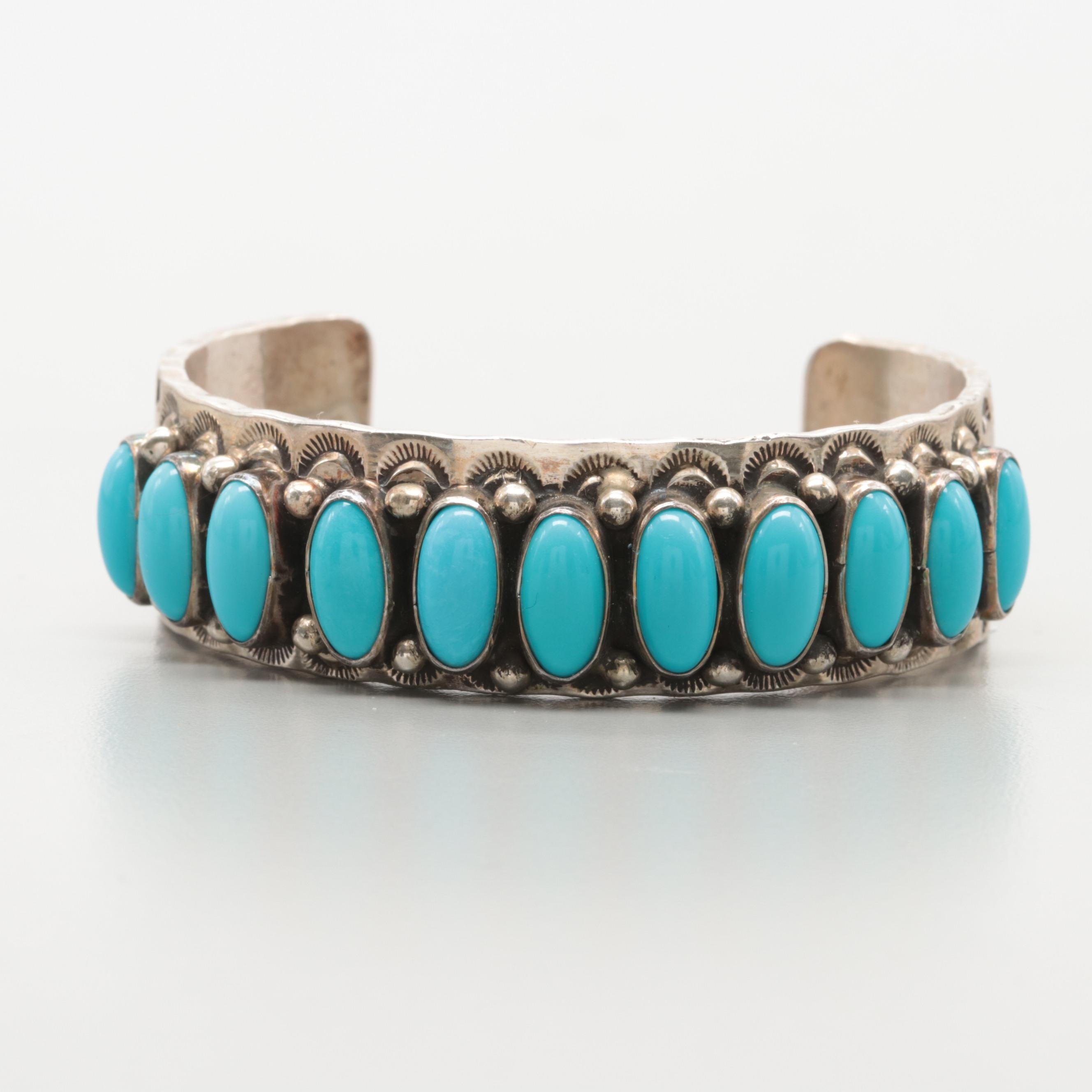 Nelson Burbank Navajo Diné Sterling Silver Turquoise Cuff Bracelet