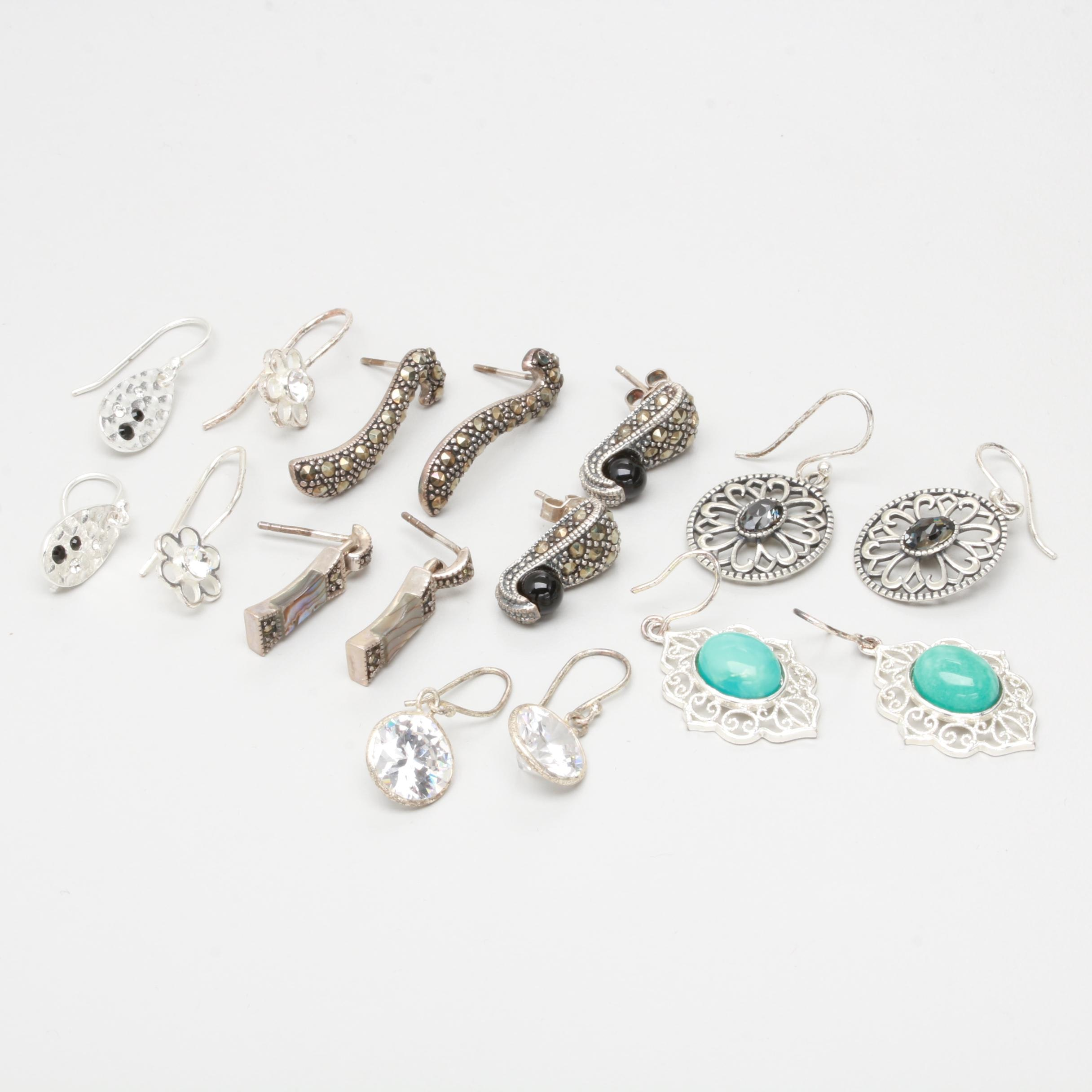 Sterling Silver Earring Assortment with Cubic Zirconia, Marcasite, and Abalone