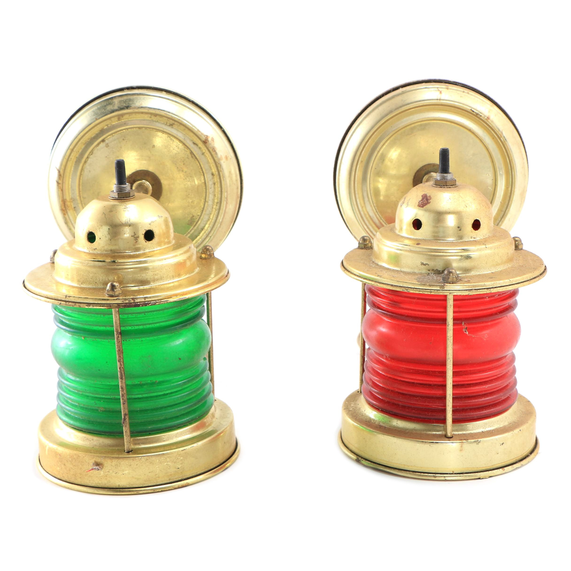 Brass Wall Sconces with Red and Green Glass Railroad Style Globes