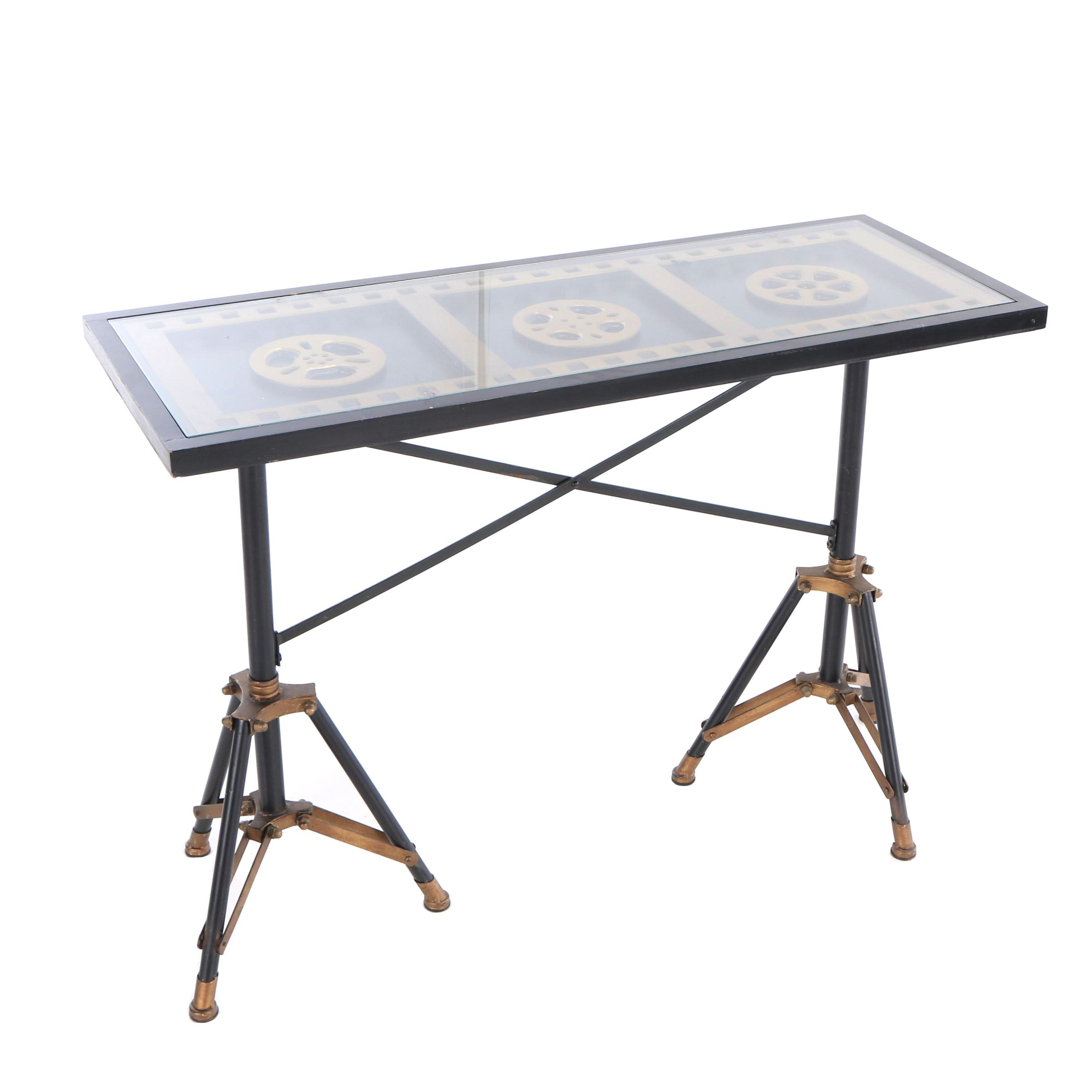 Contemporary Industrial Style Console Table with Film Reel Theme