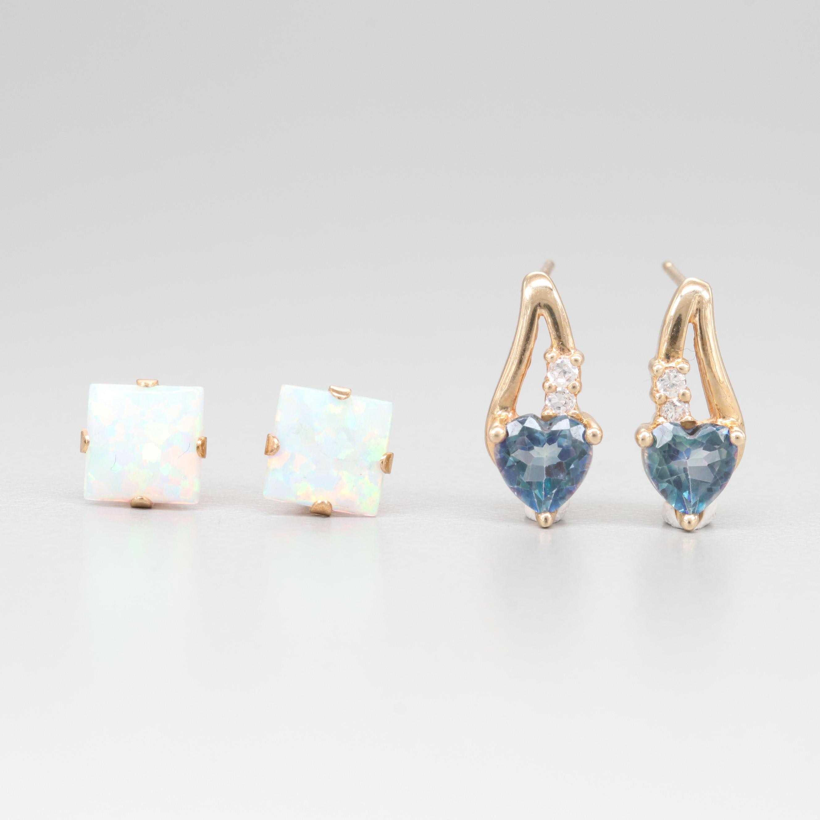 10K Yellow Gold Synthetic Opal, Topaz, and Cubic Zirconia Earrings