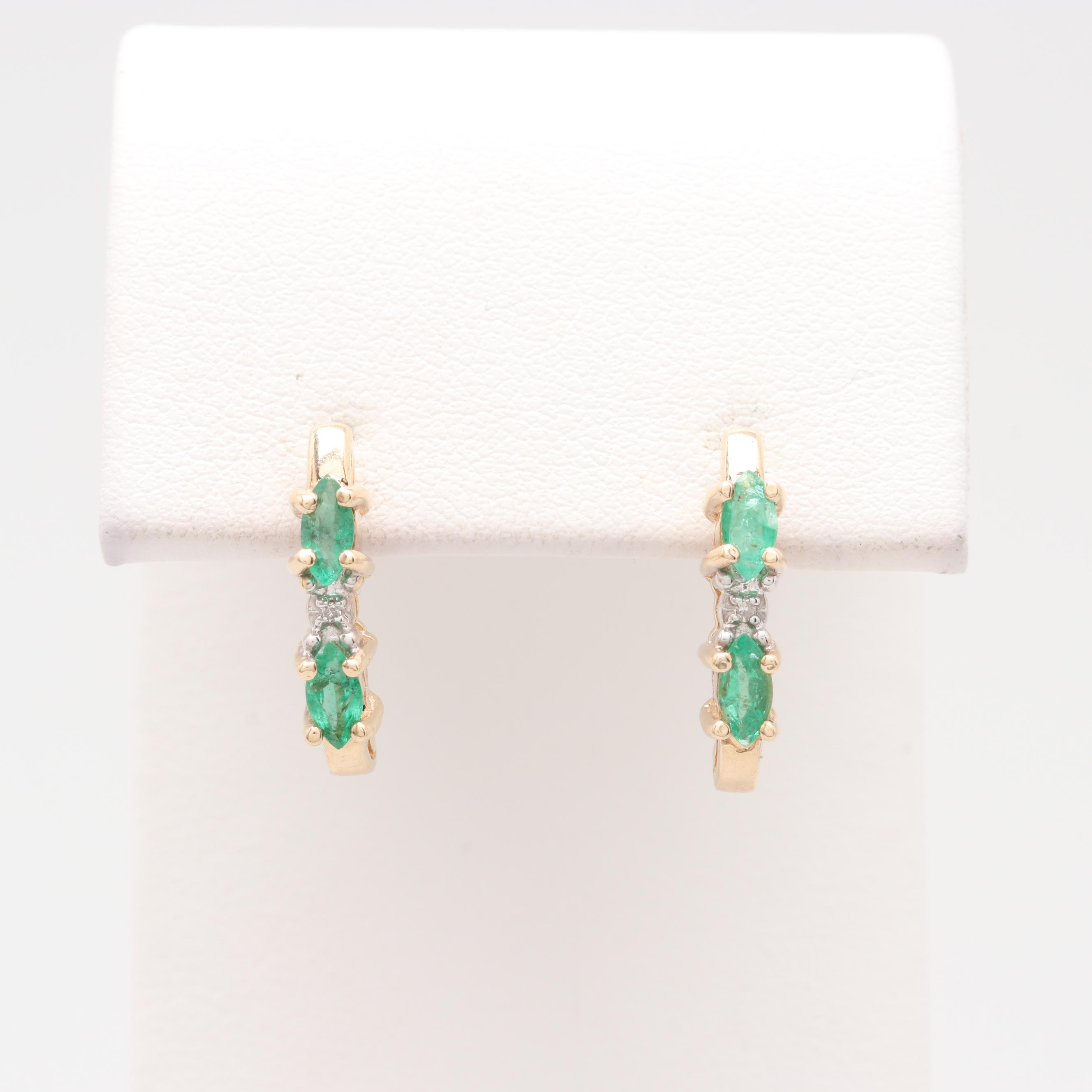 10K and 14K Yellow Gold Emerald and Diamond Earrings