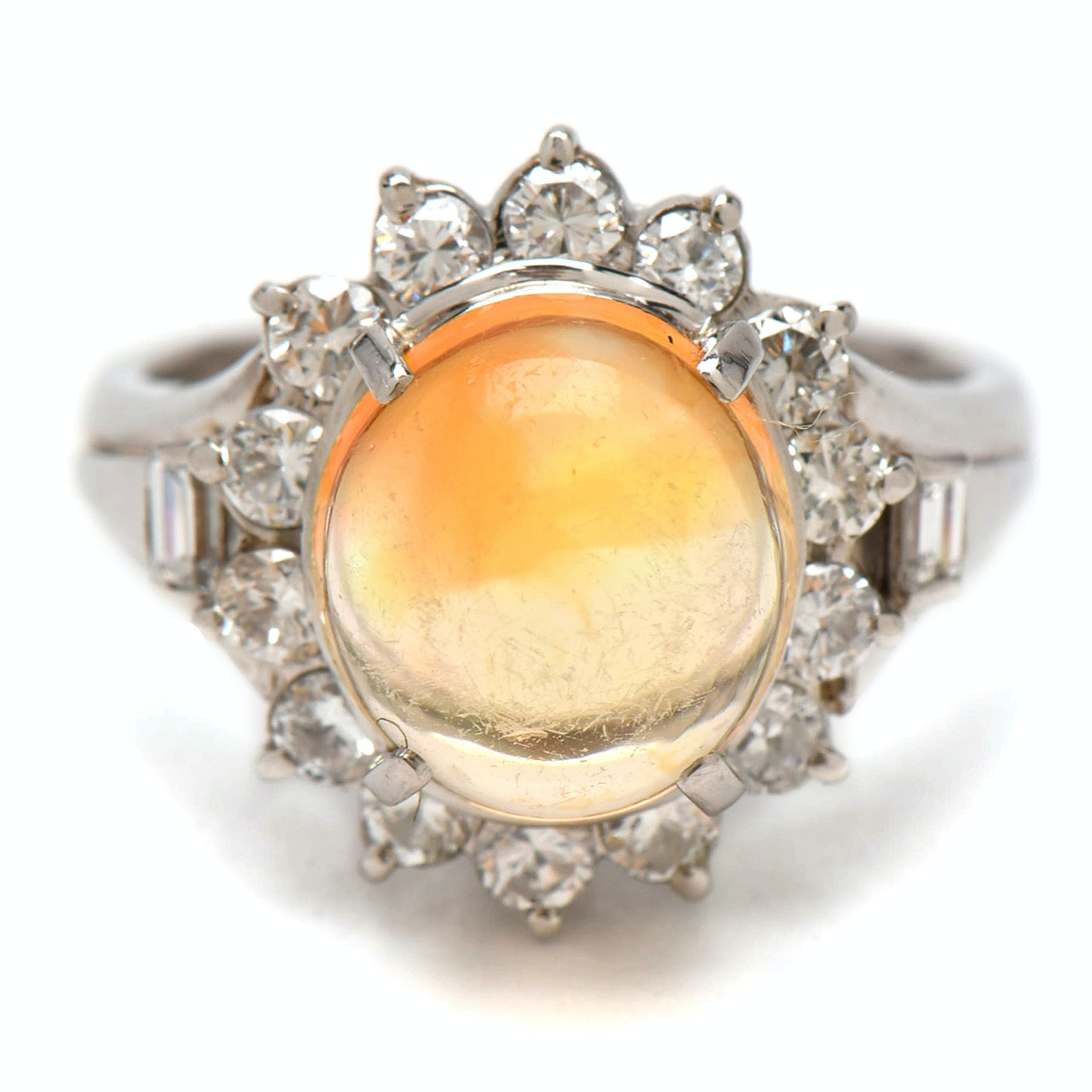 Platinum 2.25 CT Opal and Diamond Ring