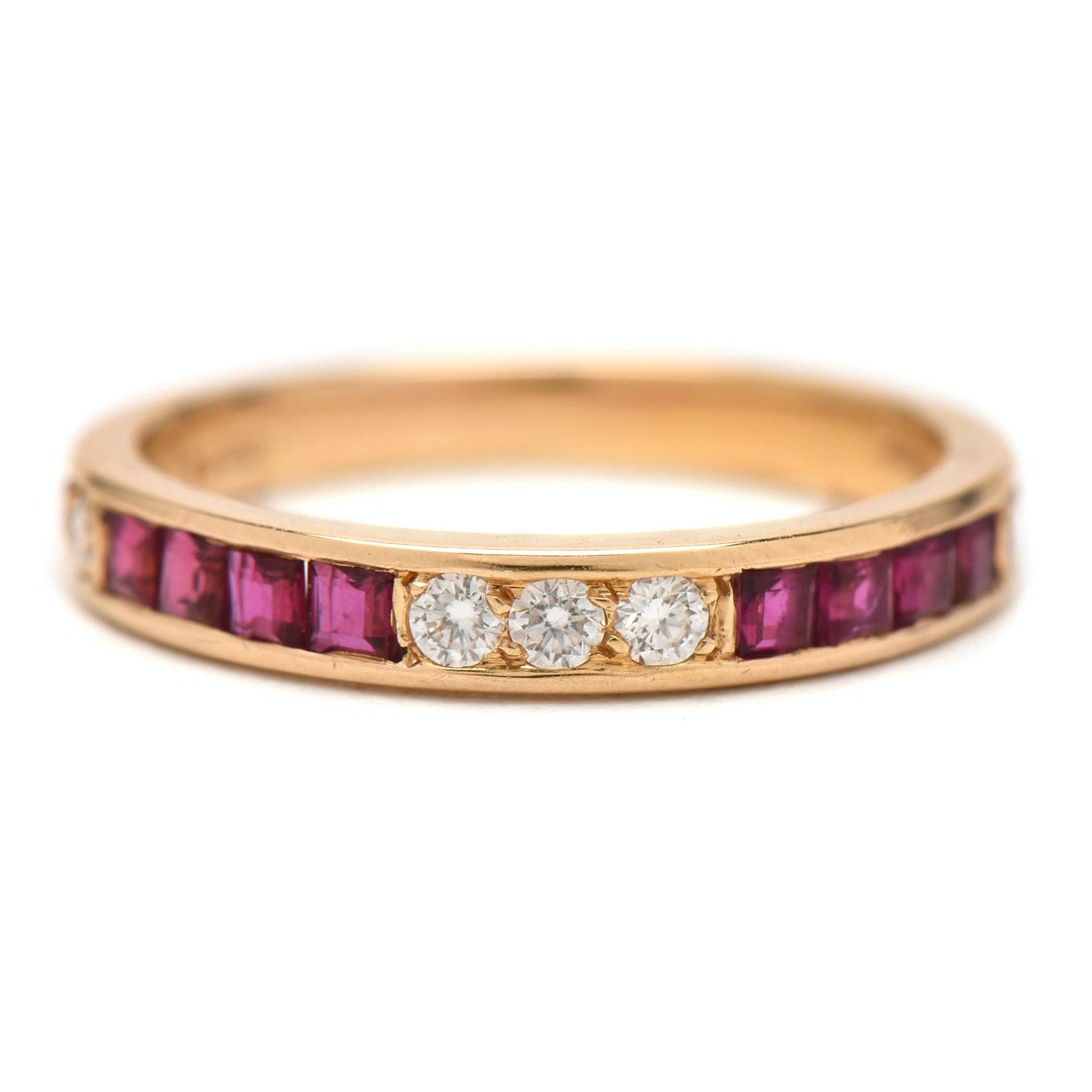 Oscar Heyman Brothers 18K Yellow Gold Diamond and Ruby Band Ring