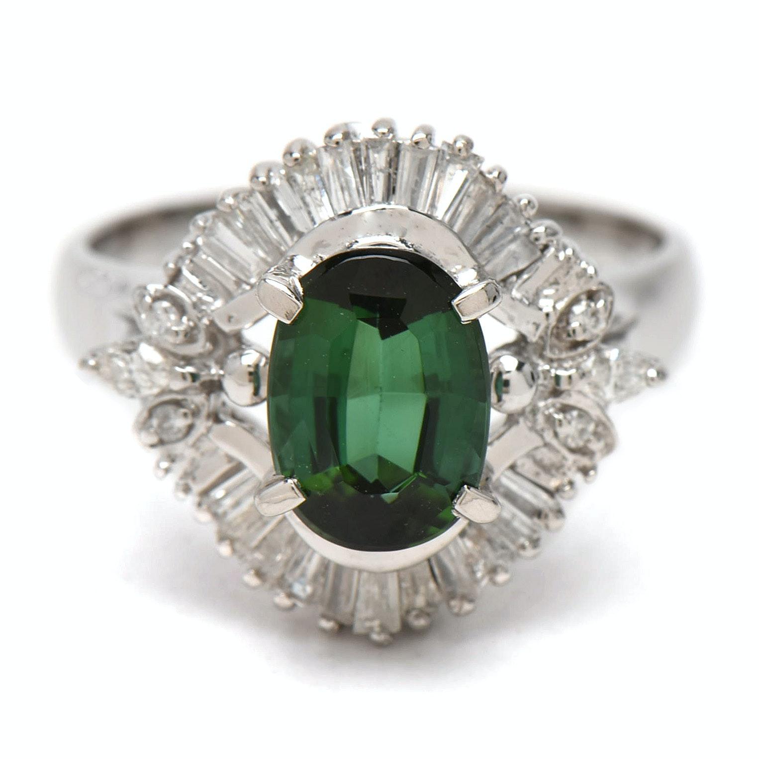 Platinum  1.26 CT Green Tourmaline and Diamond Ballerina Ring
