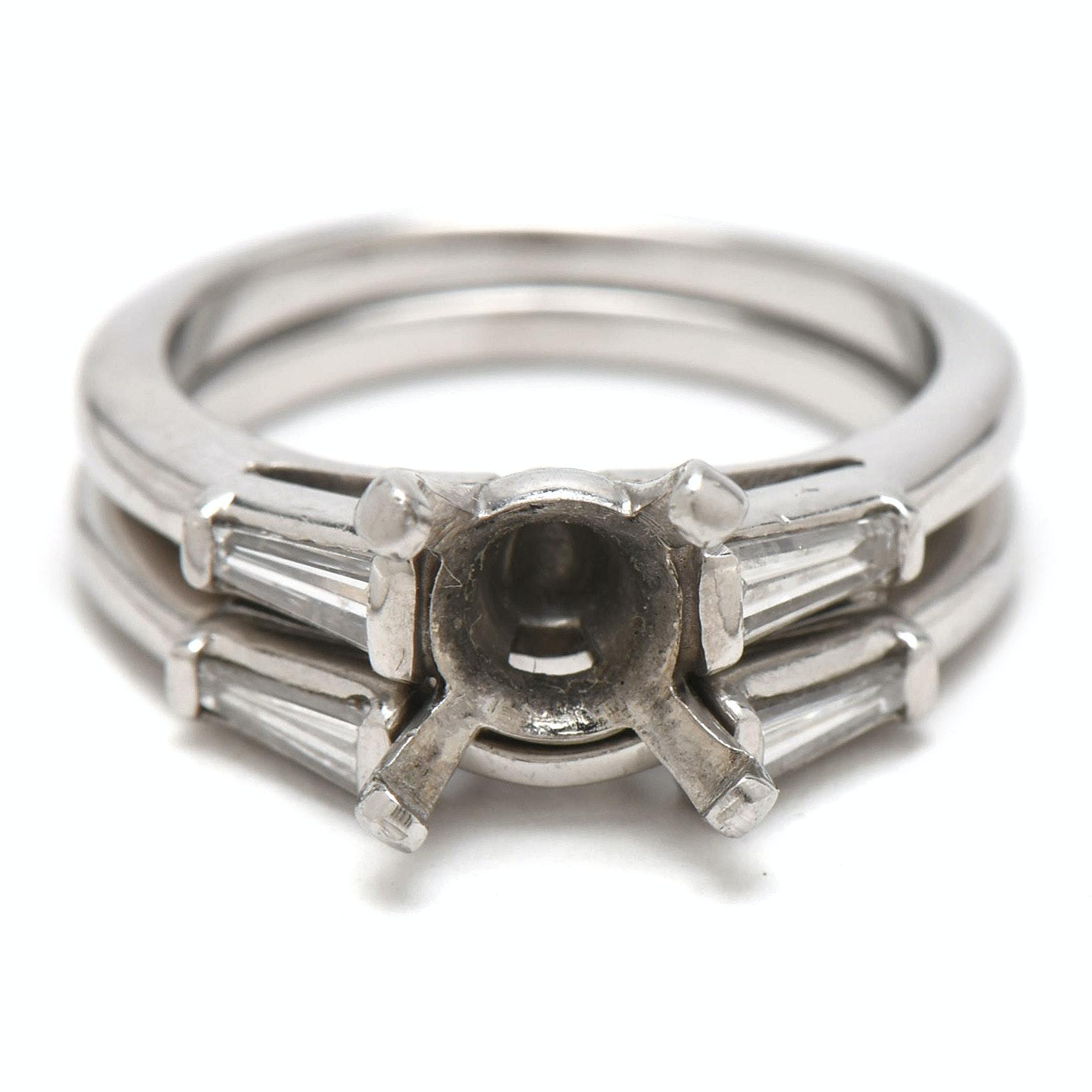 Platinum and Diamond Baguette Semi- Mount Bridal Ring Set