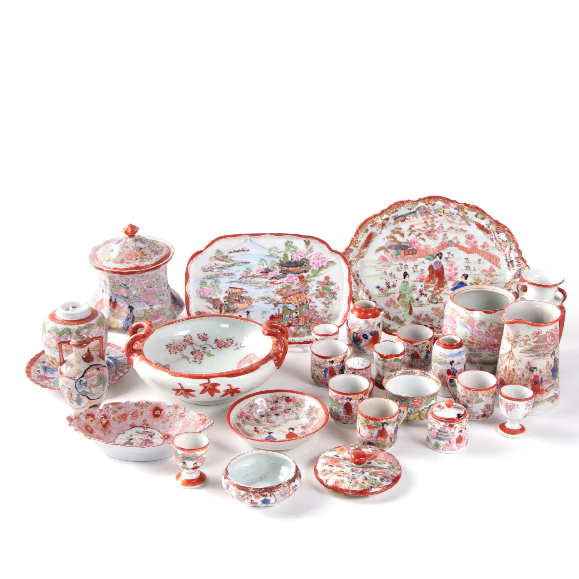 "Vintage Japanese ""Geisha Girl"" Porcelain Vases and Serveware"