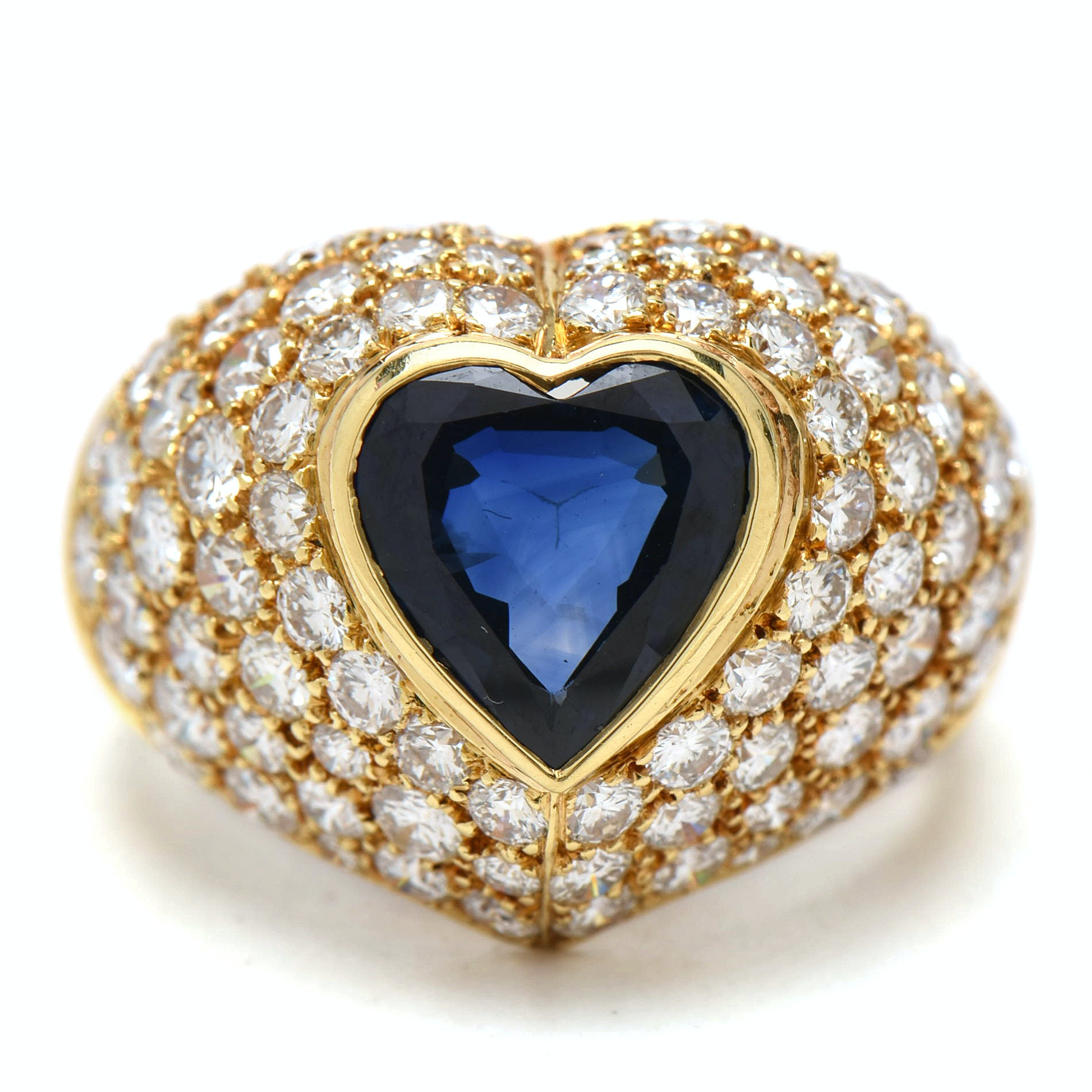 14K Yellow Gold 2.41 CT Heart-Shaped Sapphire and 2.10 CTW Diamond Ring