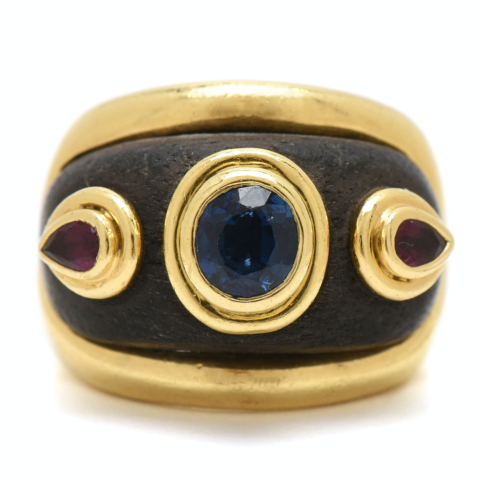 Vintage Boris Le Beau 18K Yellow Gold Sapphire, Ruby and Ebony Ring