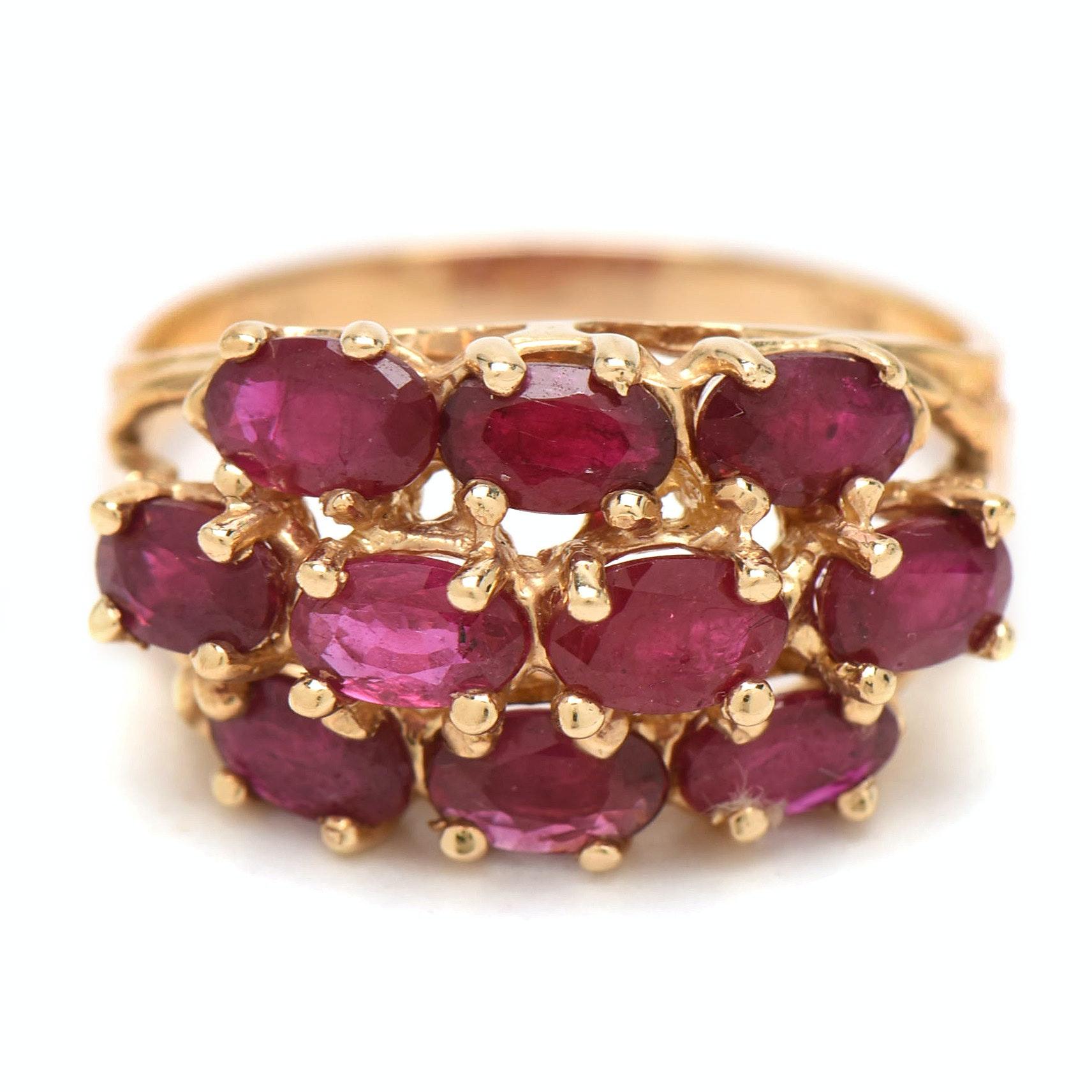 14K Yellow Gold Ruby Fashion Ring