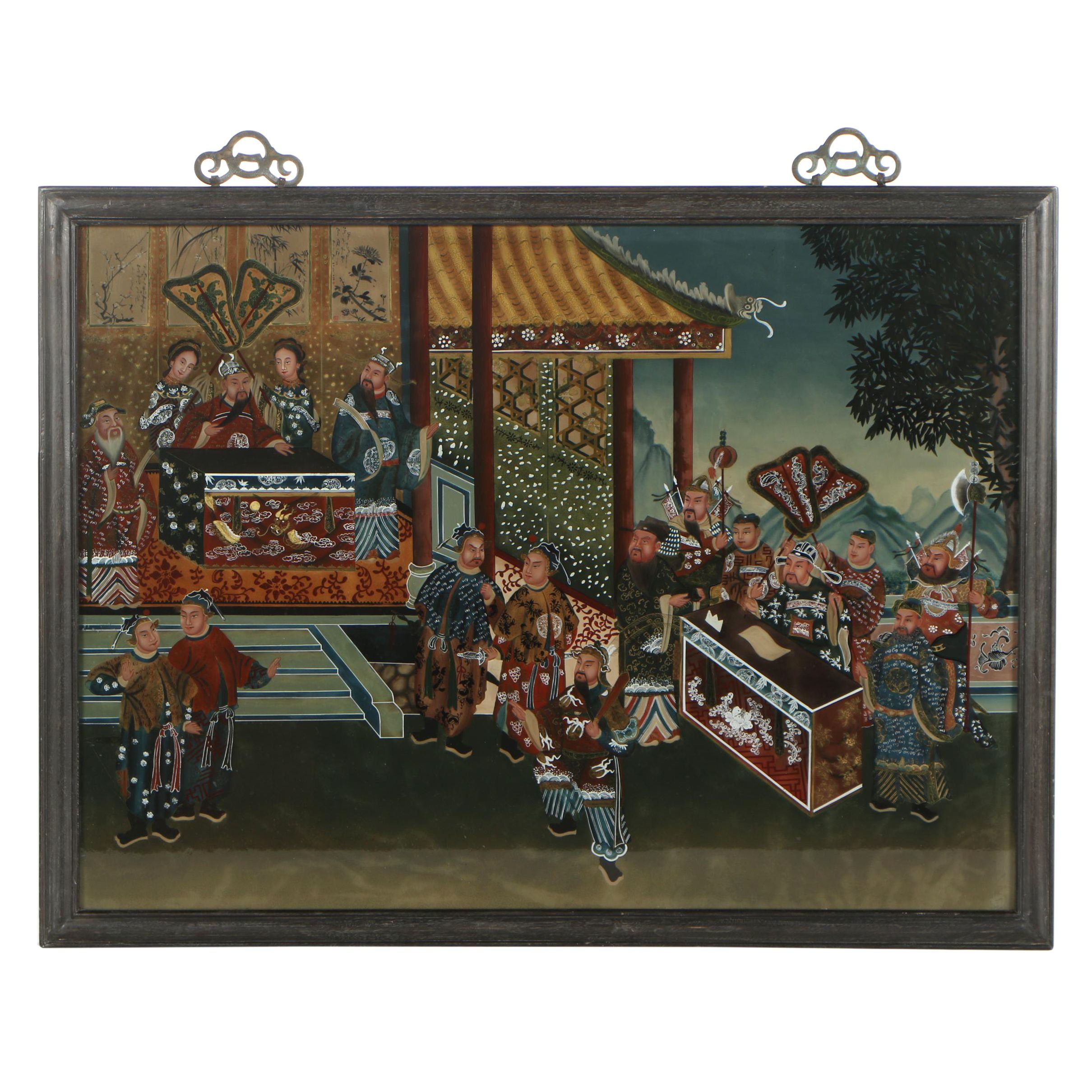 East Asian Gouache Reverse Glass Painting