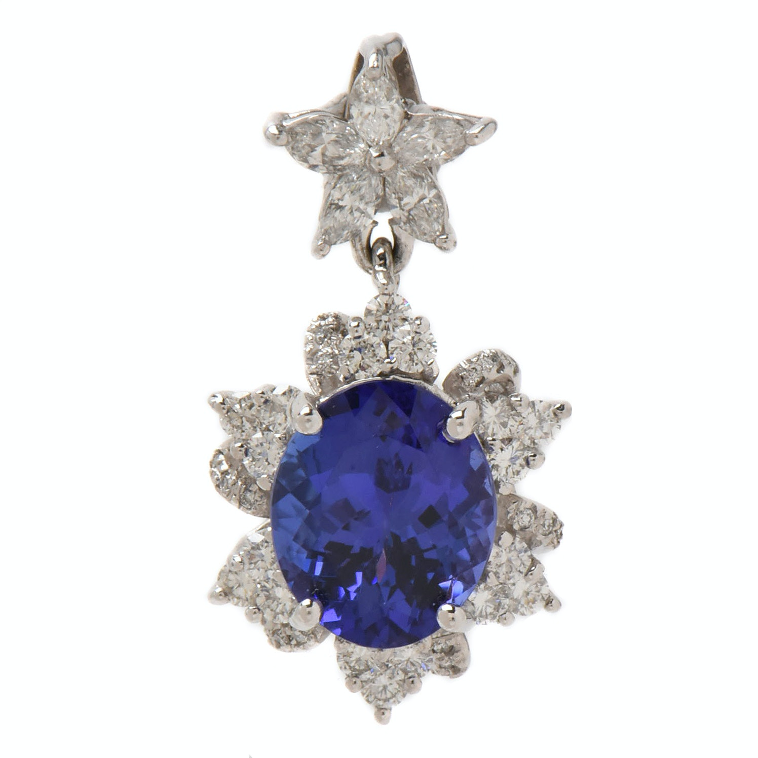 14K White Gold 4.60 CT Tanzanite and 1.00 CTW Diamond Pendant