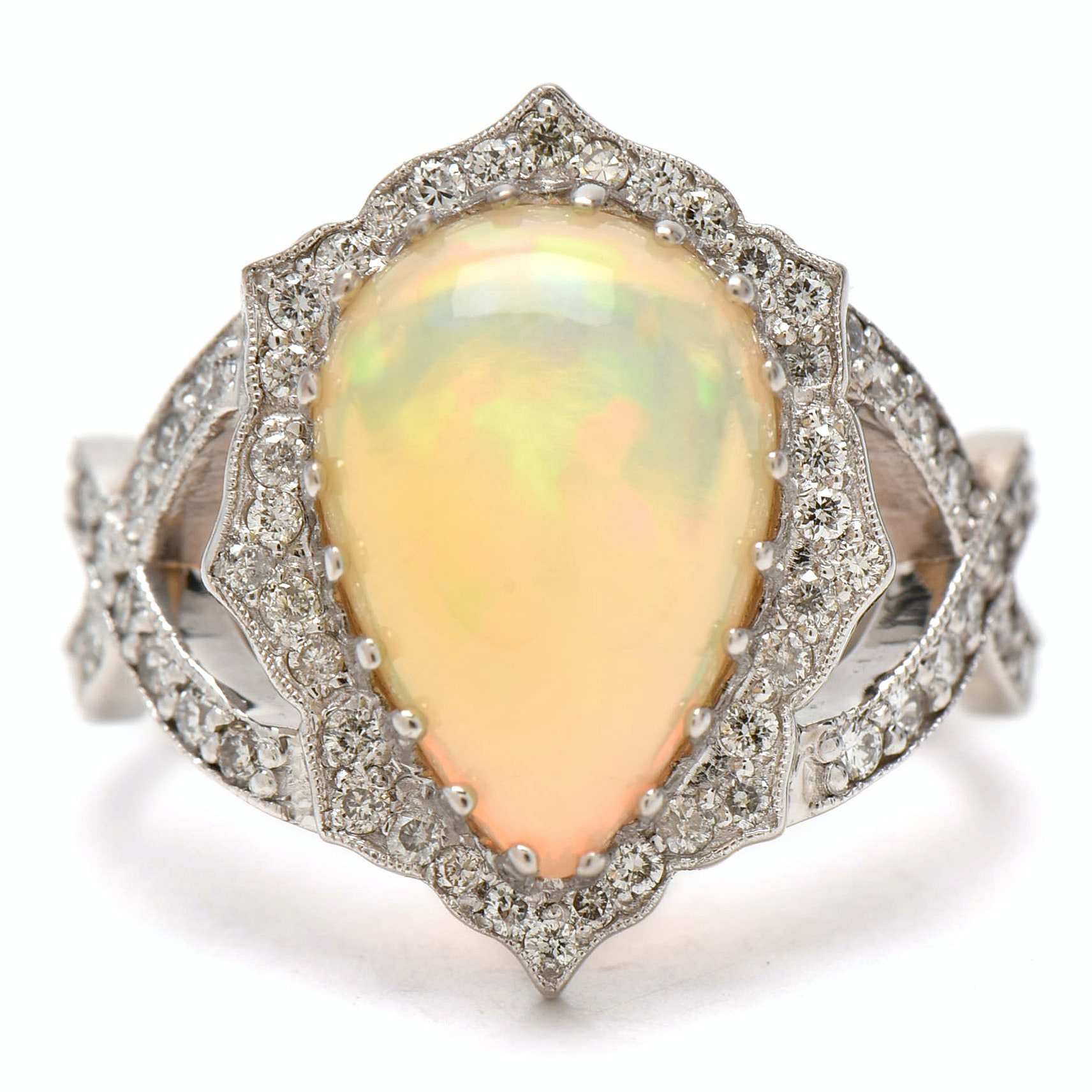 14K White Gold Opal and Diamond Infinity Ring