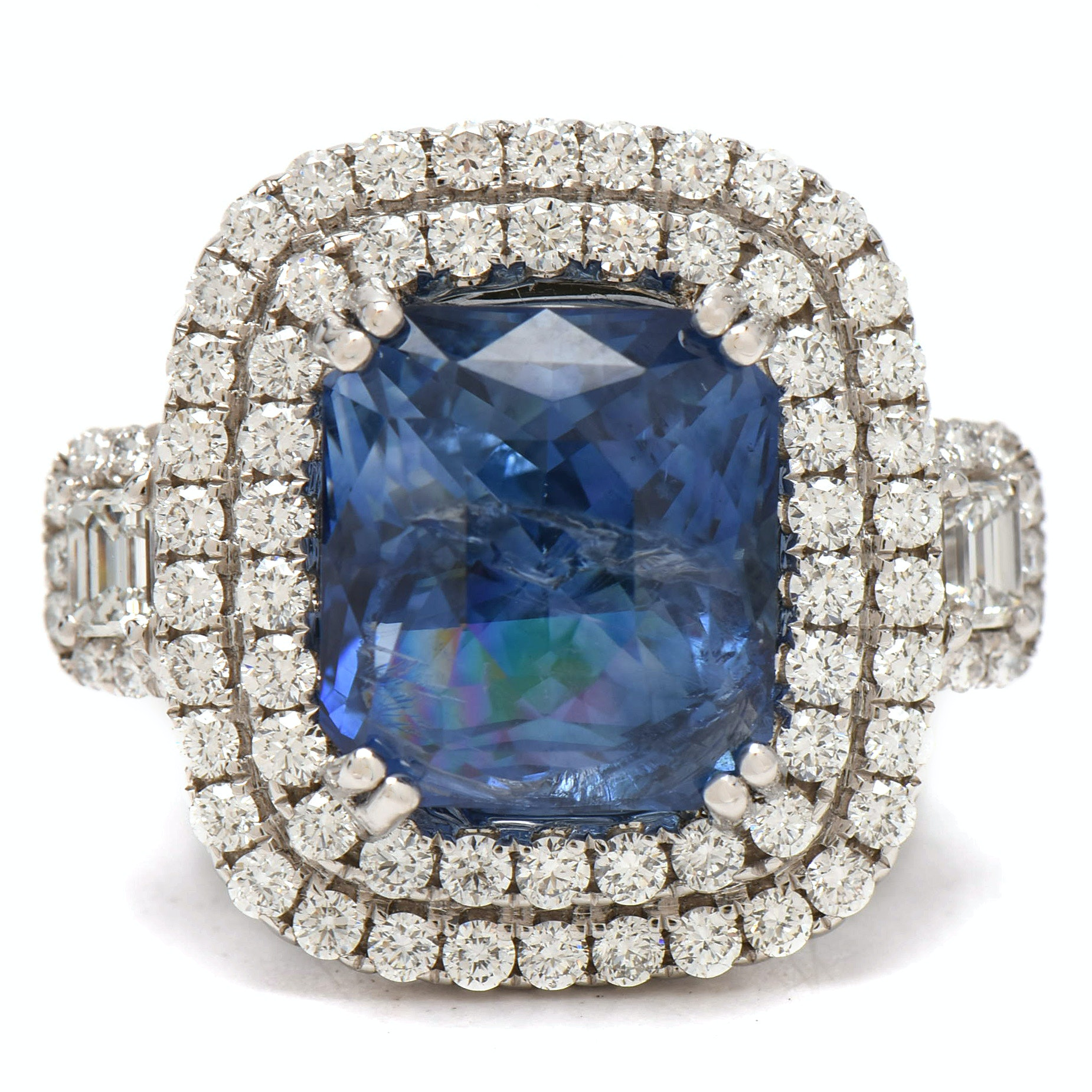 18K White Gold 10.24 CT Sapphire and 1.81 CTW Diamond Statement Ring, GIA Report