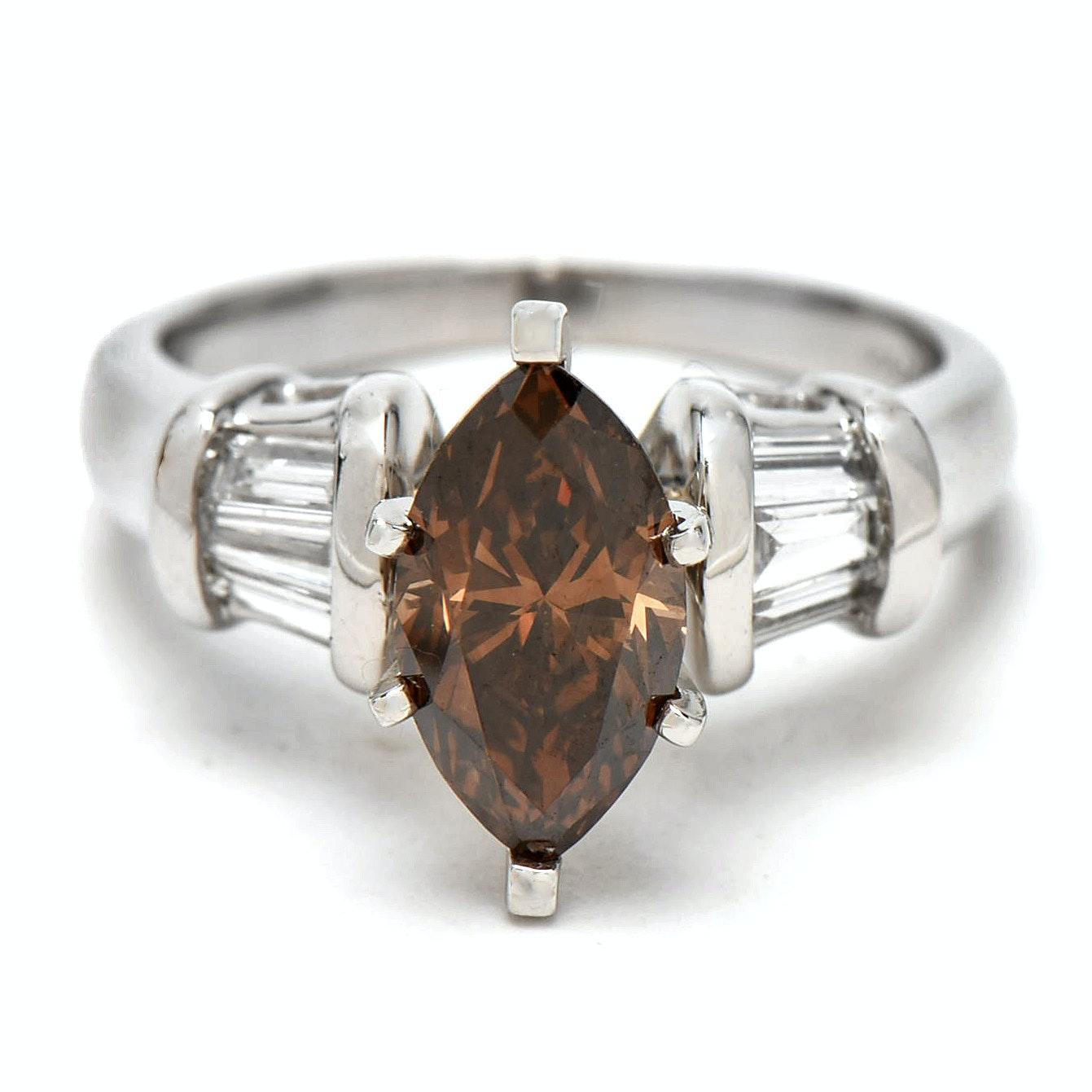 Platinum 1.57 CTW Diamond Engagement Ring with GIA Colored Diamond Report