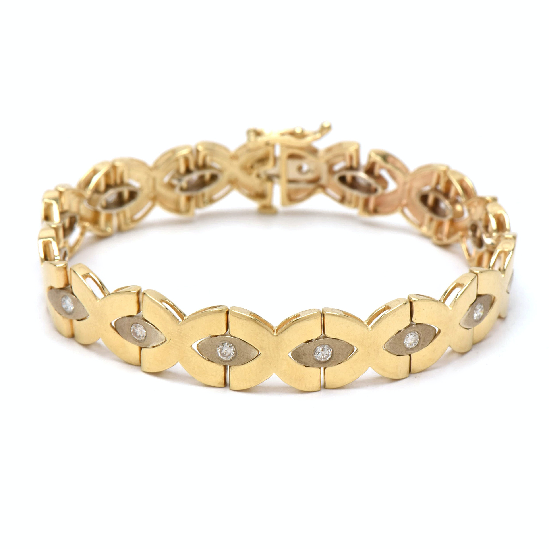 "14K Yellow Gold Diamond ""X"" Linked Bracelet"