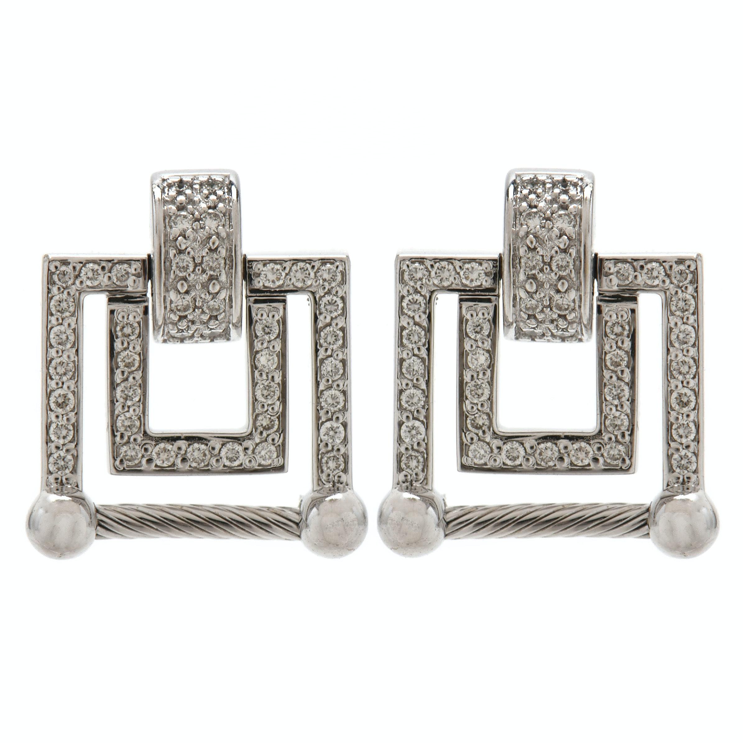 Charriol 18K White Gold Diamond Square Earrings