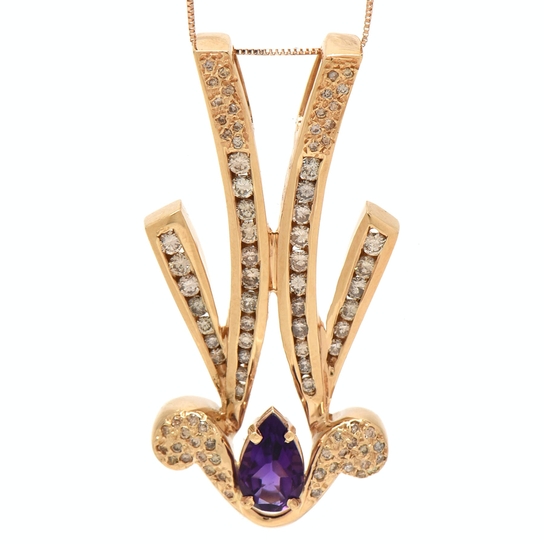 10K and 14K Yellow Gold Amethyst and 1.16 CTW Diamond Statement Pendant Necklace