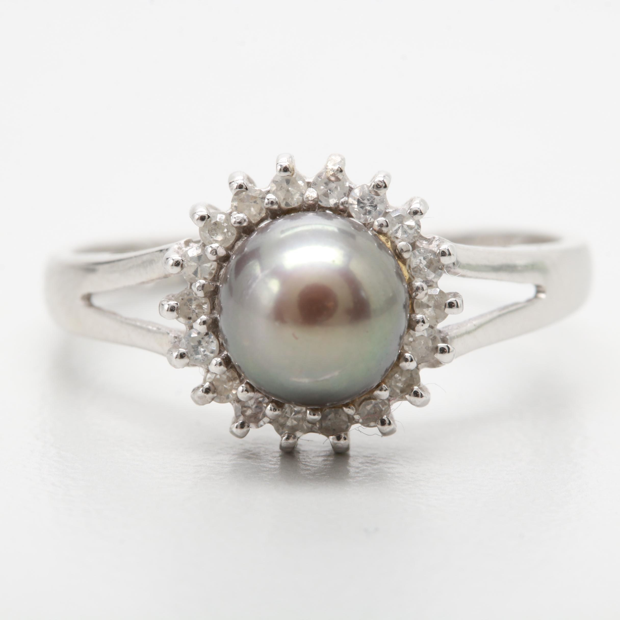 24K White Gold Cultured Pearl and Diamond Ring