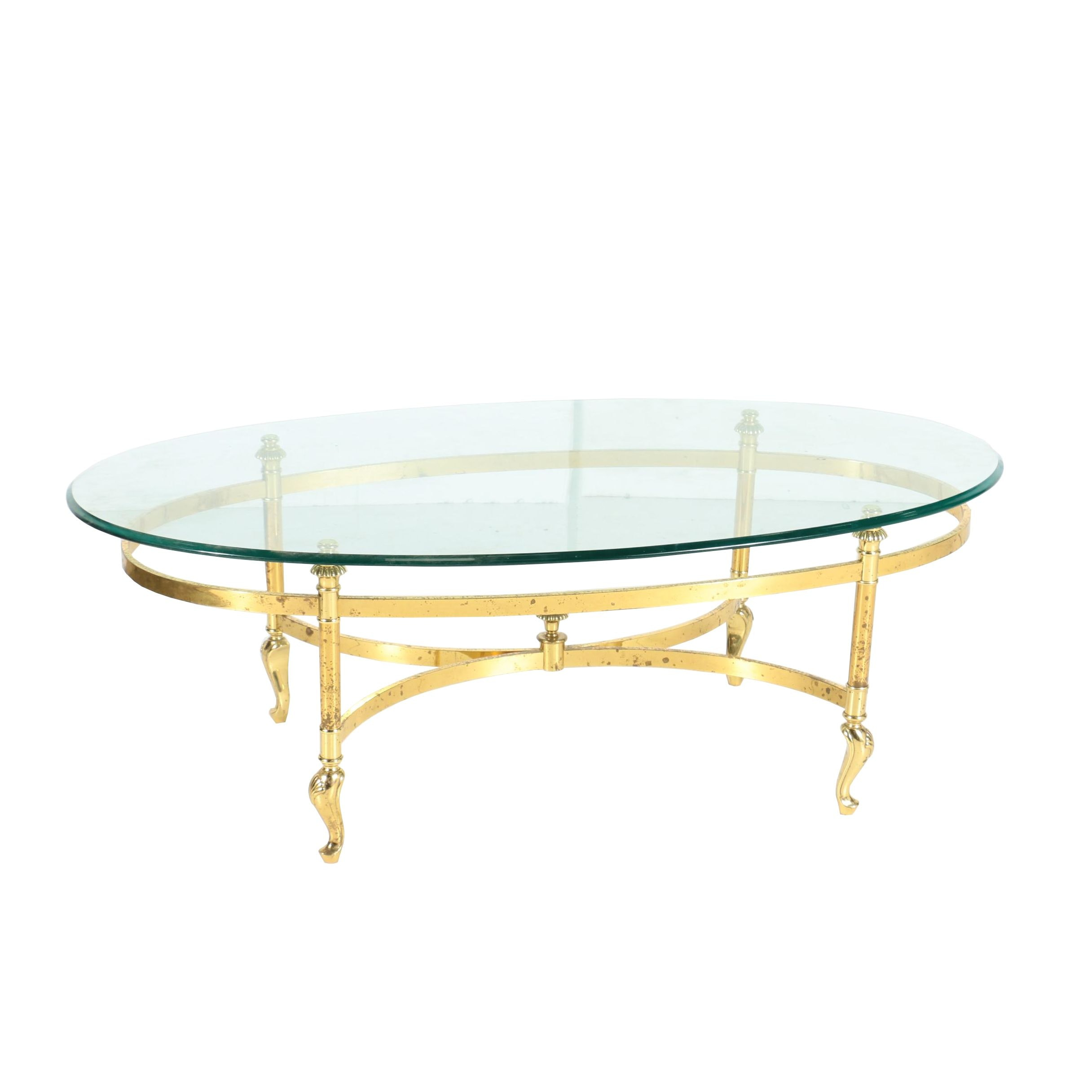 Oval Brass Coffee Table with Glass Top in the Style of La Barge, 20th Century