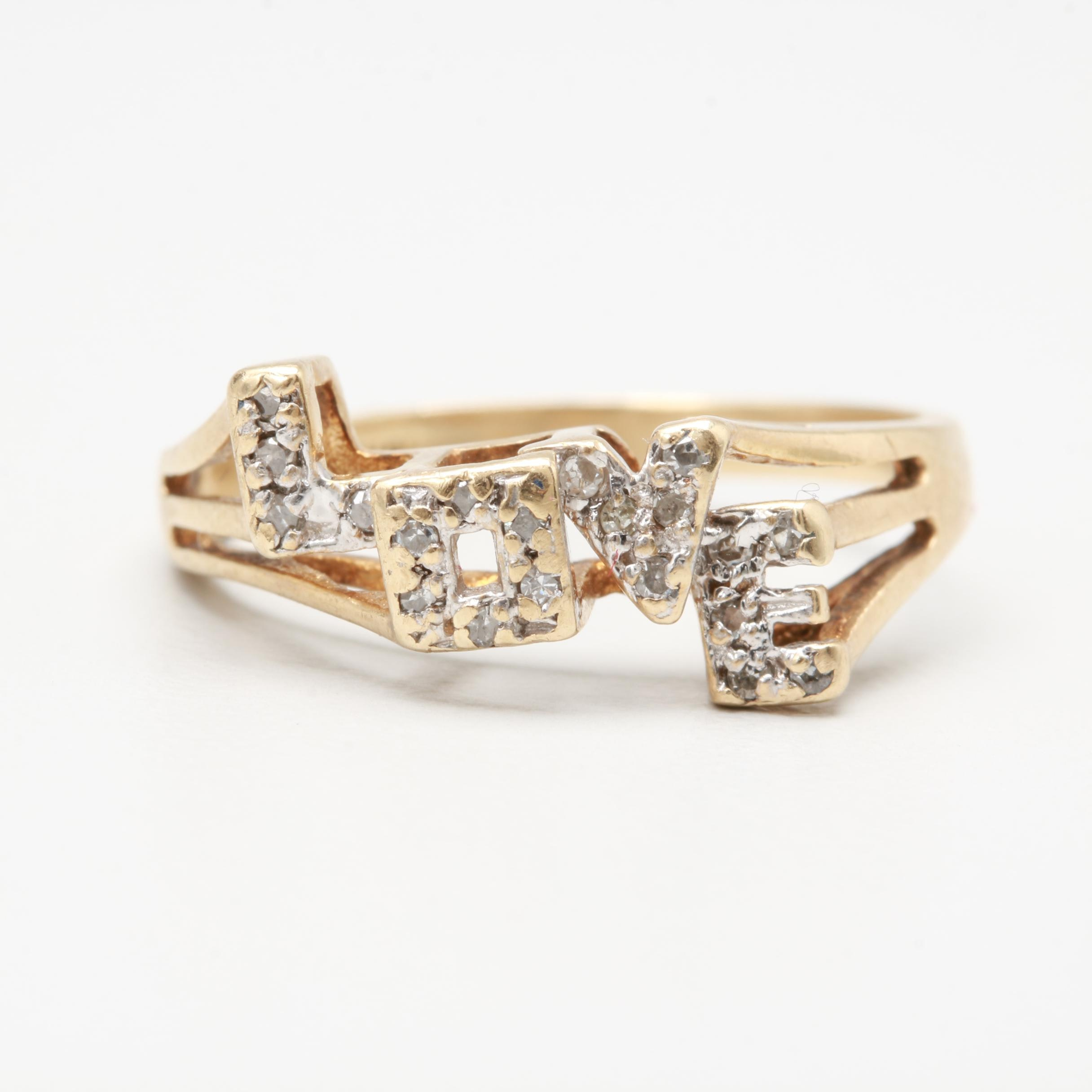 "10K Yellow Gold Diamond ""Love"" Ring"