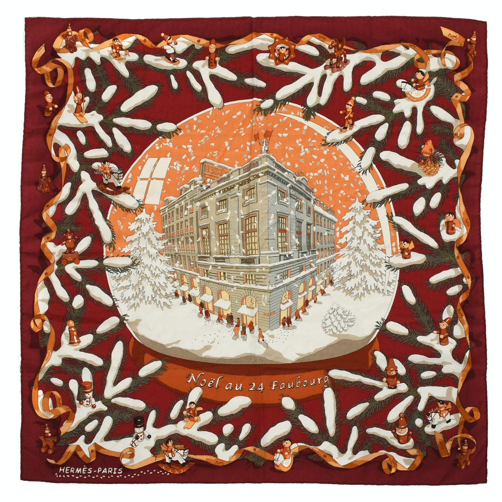 "Hermès of Paris Silk and Cashmere ""Noël au 24 Faubourg"" 90 cm Scarf"