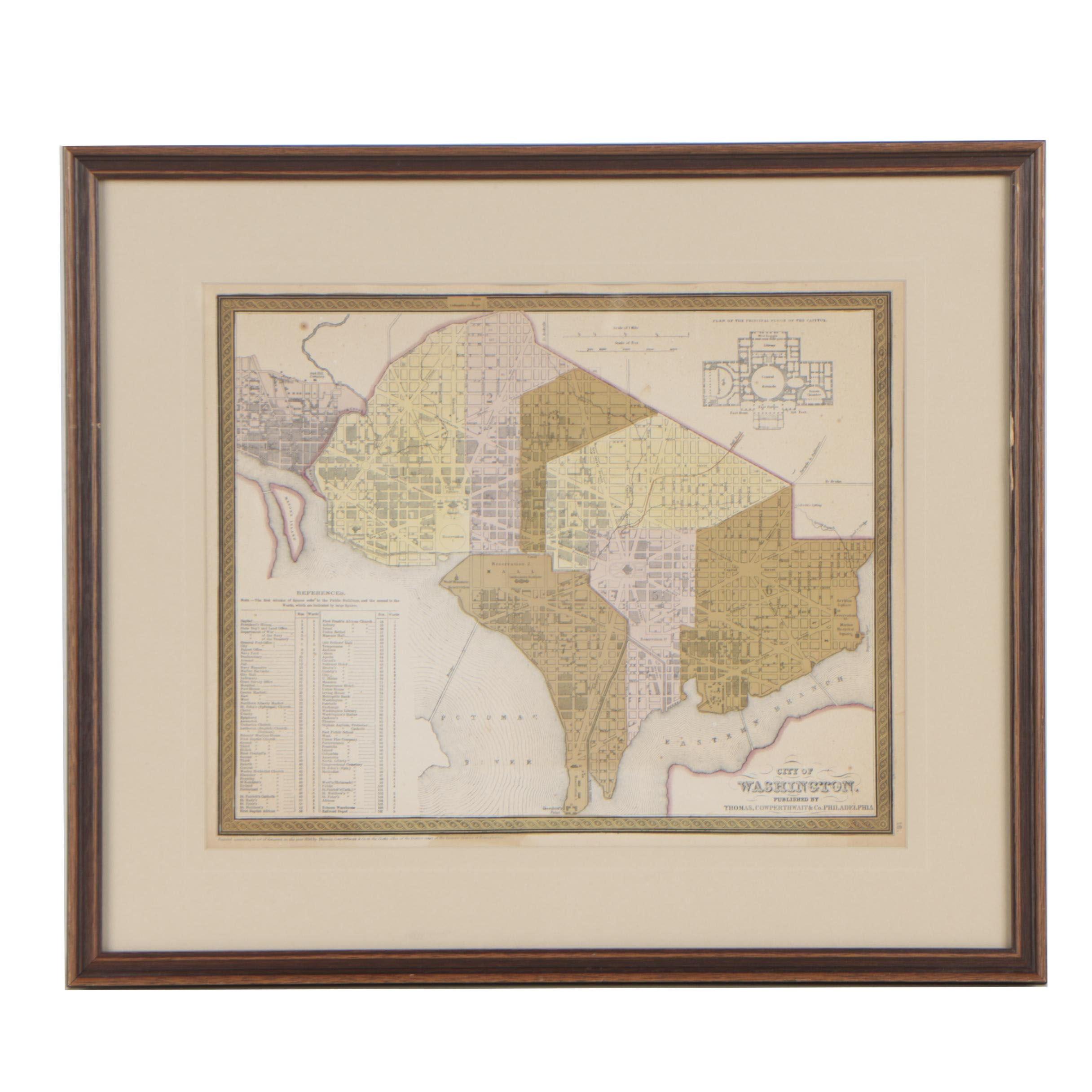"Thomas, Cowperthwait & Co. Hand-Colored Map ""City of Washington"""