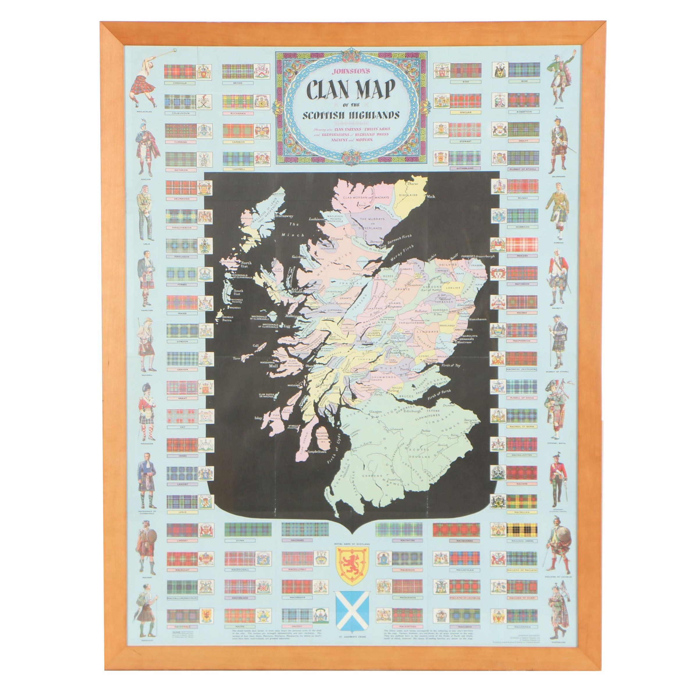"""Mid 20th Century Map """"Johnston's Clan Map of the Scottish Highlands"""""""