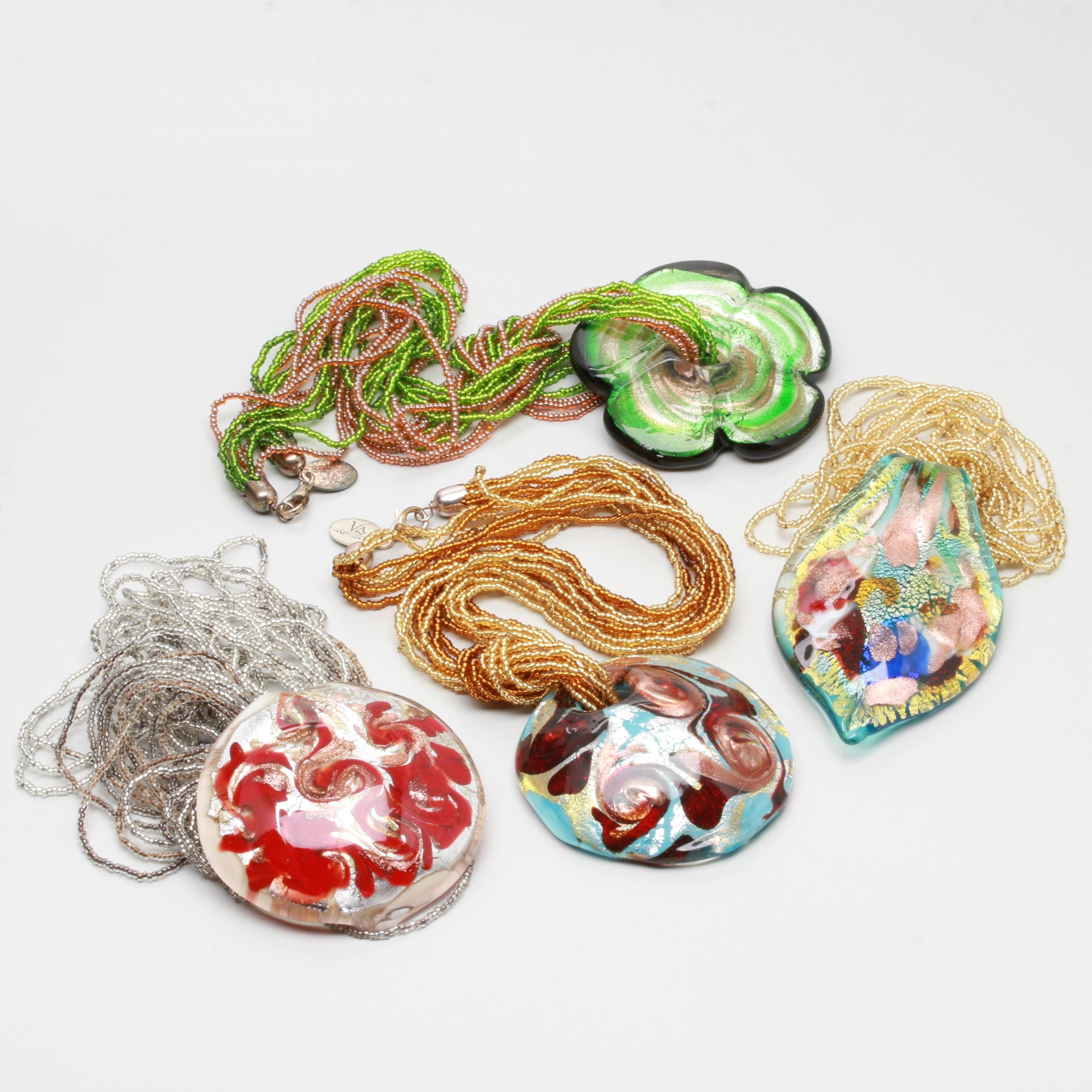 Dichroic Glass Pendant and Plastic Seed Bead Necklaces