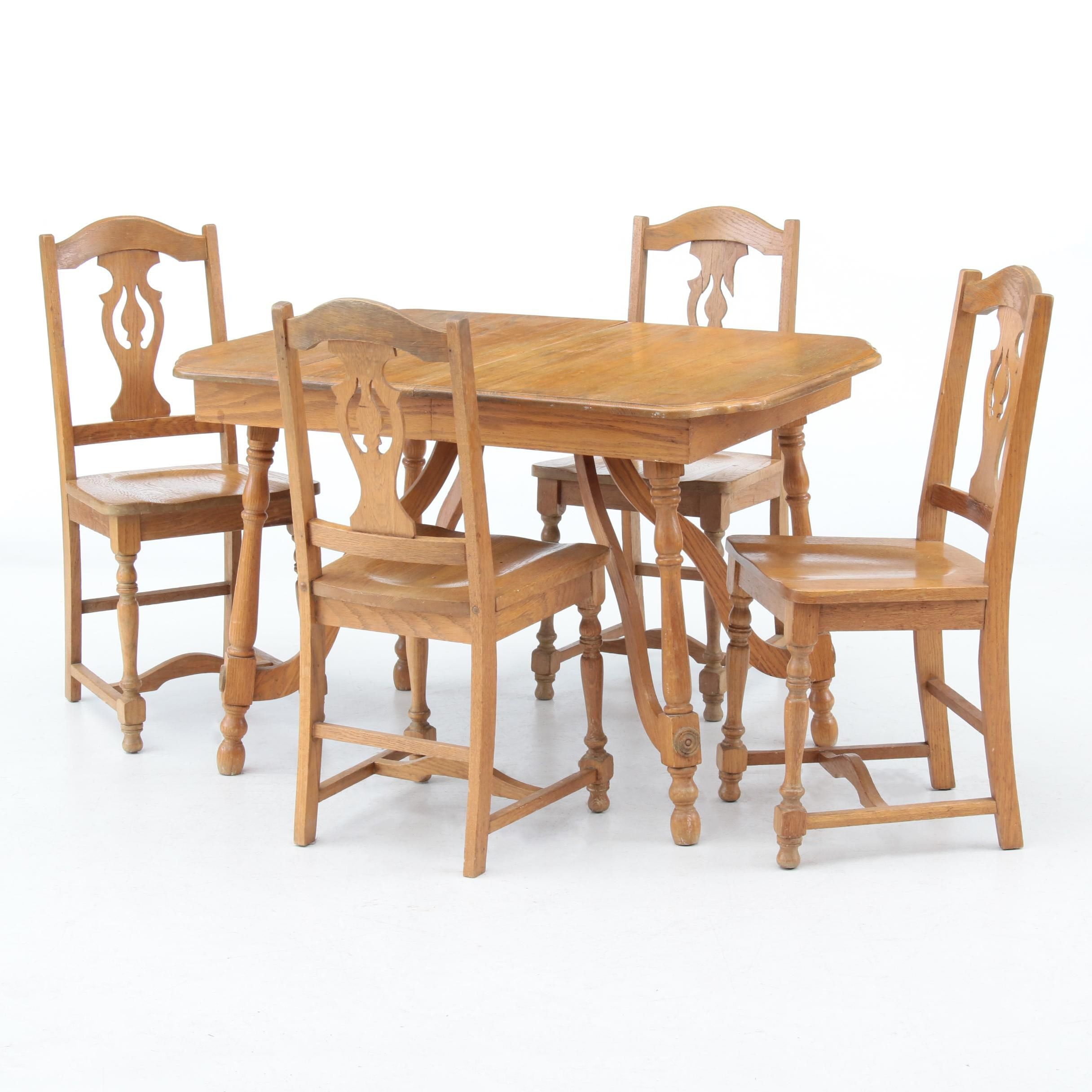 Oak Dining Table and Side Chairs