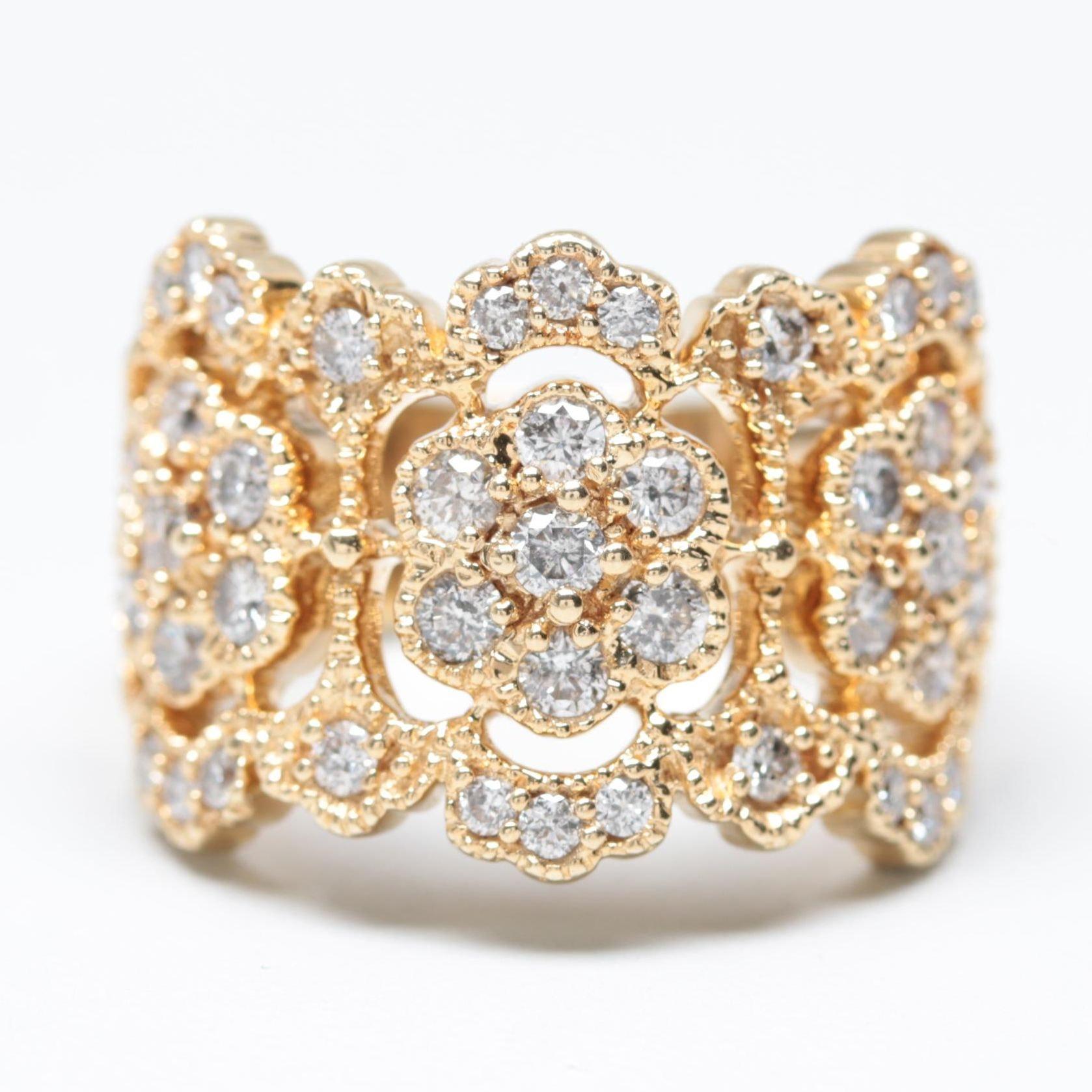Effy 14K Yellow Gold 1.34 CTW Diamond Openwork Ring