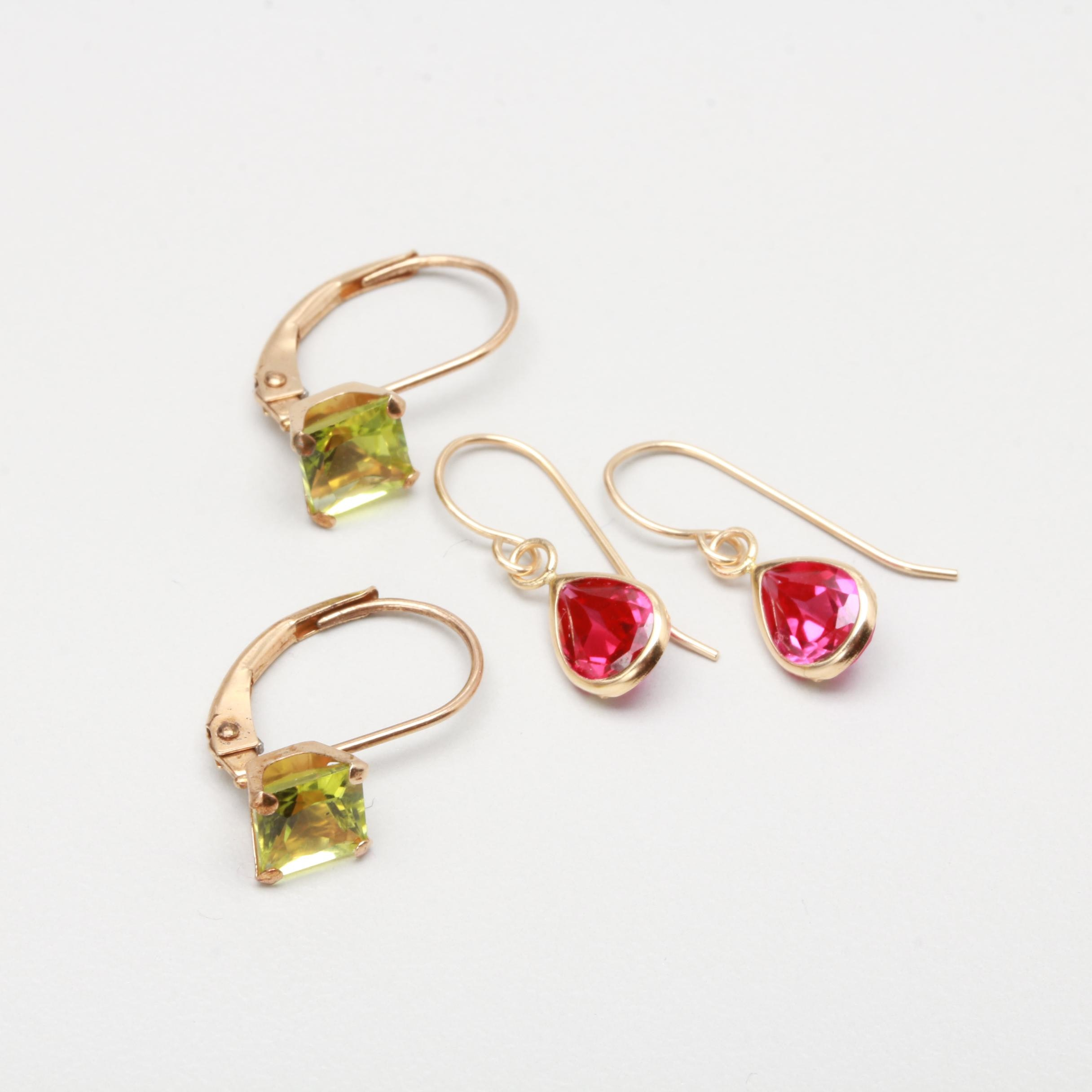 10K Yellow Gold Peridot and Synthetic Ruby Earrings