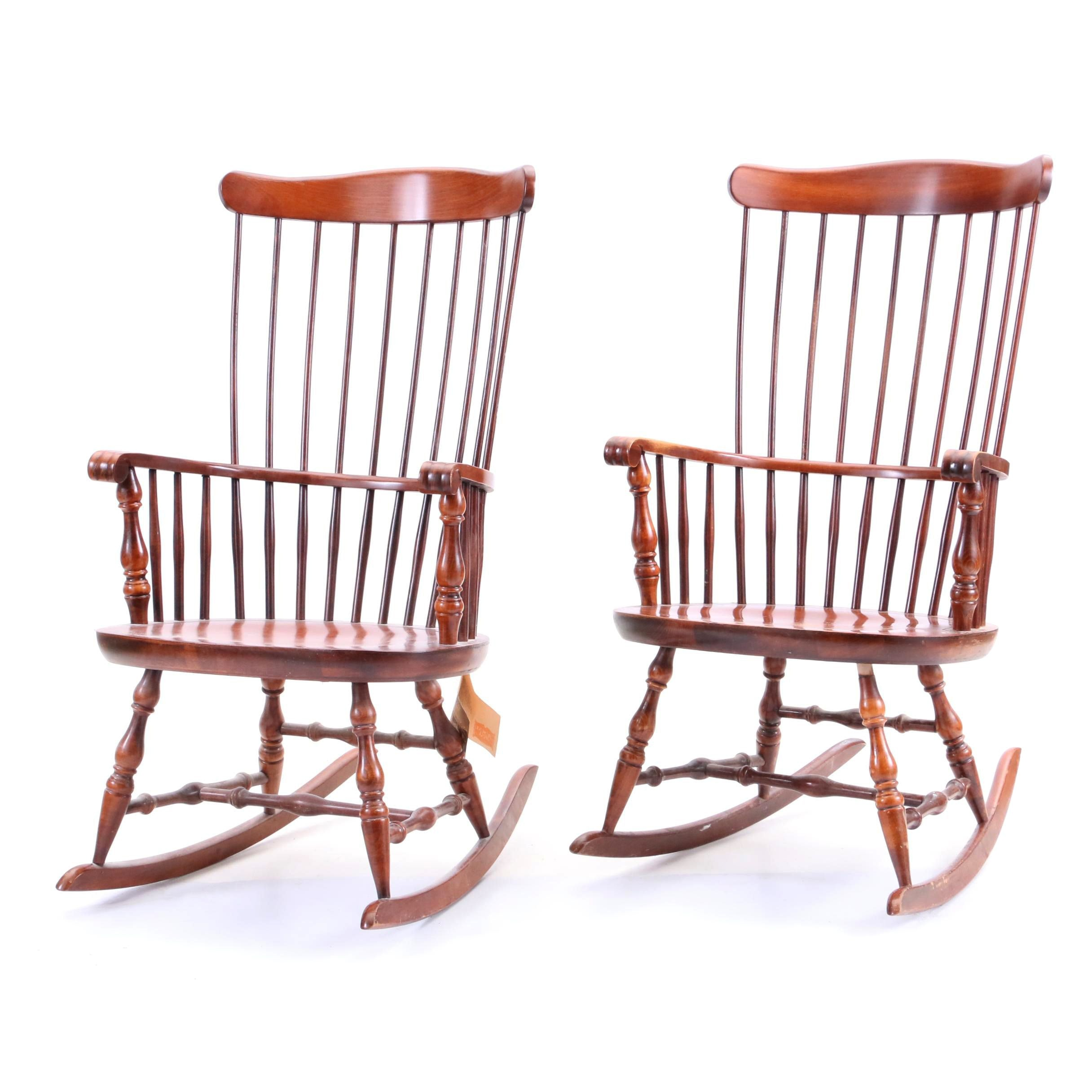 Two Lock Furniture Early American Rocking Chairs In Cherry Finish